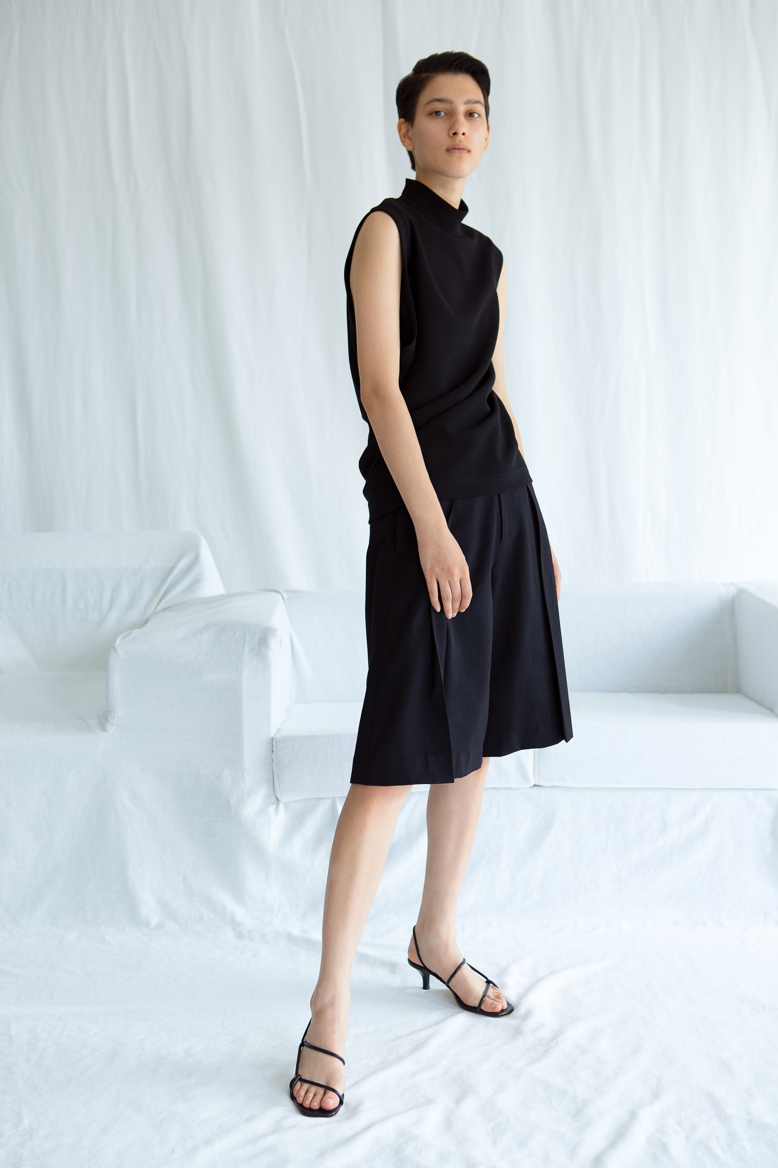 SERRA     mock neck top and   ELIOT   pleated wool culottes