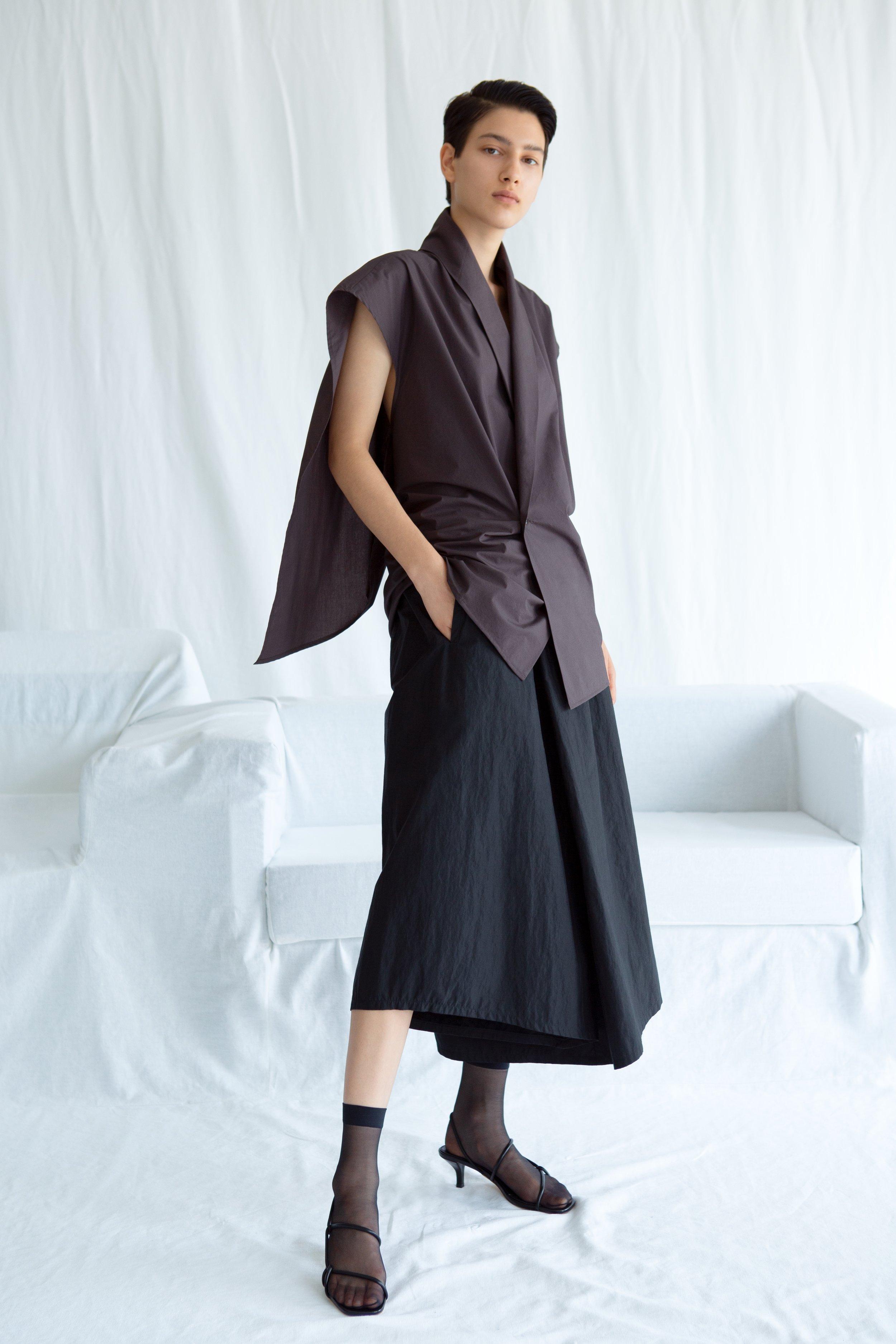 CRUZ   draped blouse and   KAHN   asymmetric culottes