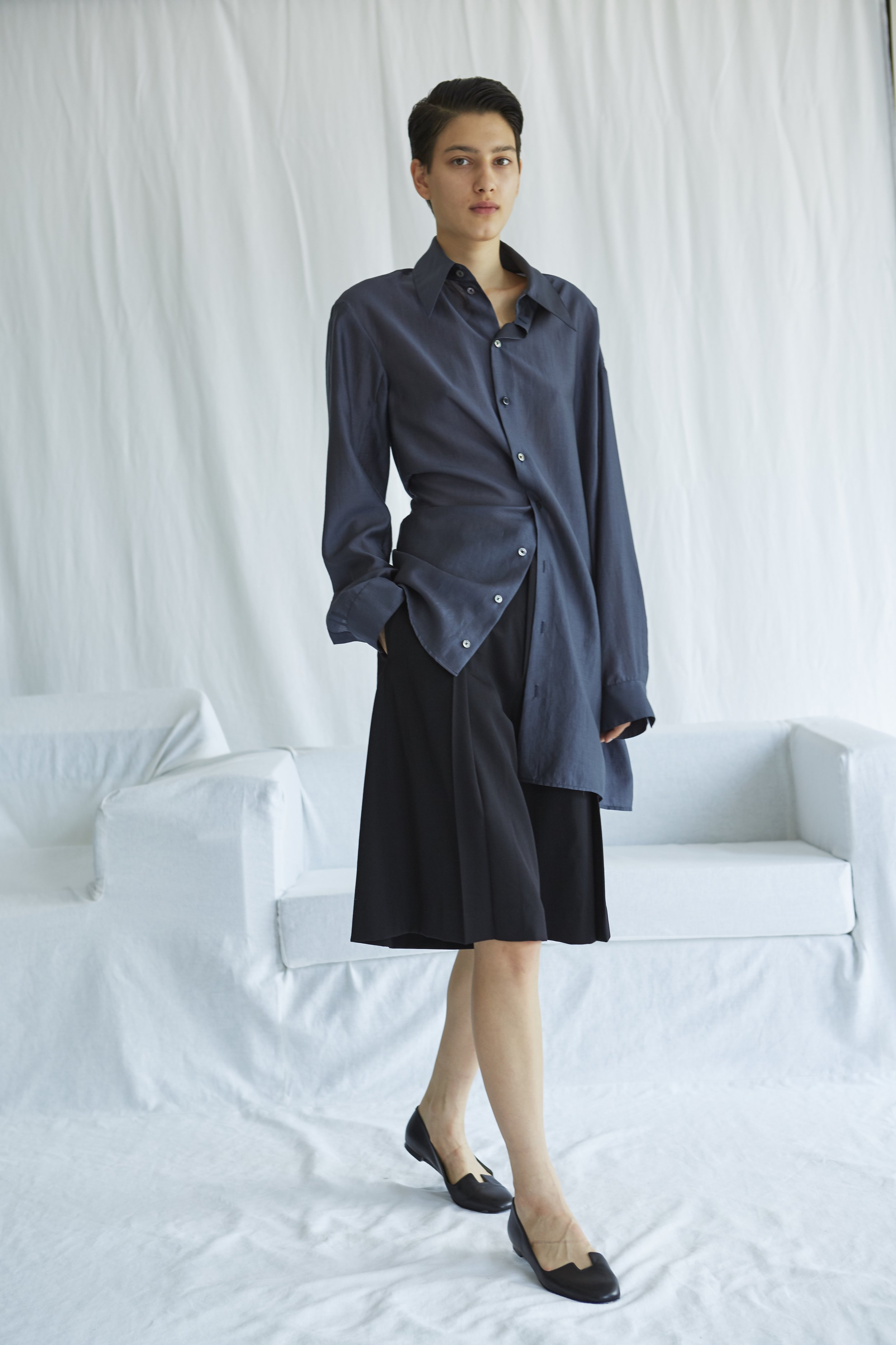 YVES   asymmetric shirt and   ELIOT   pleated wool culottes