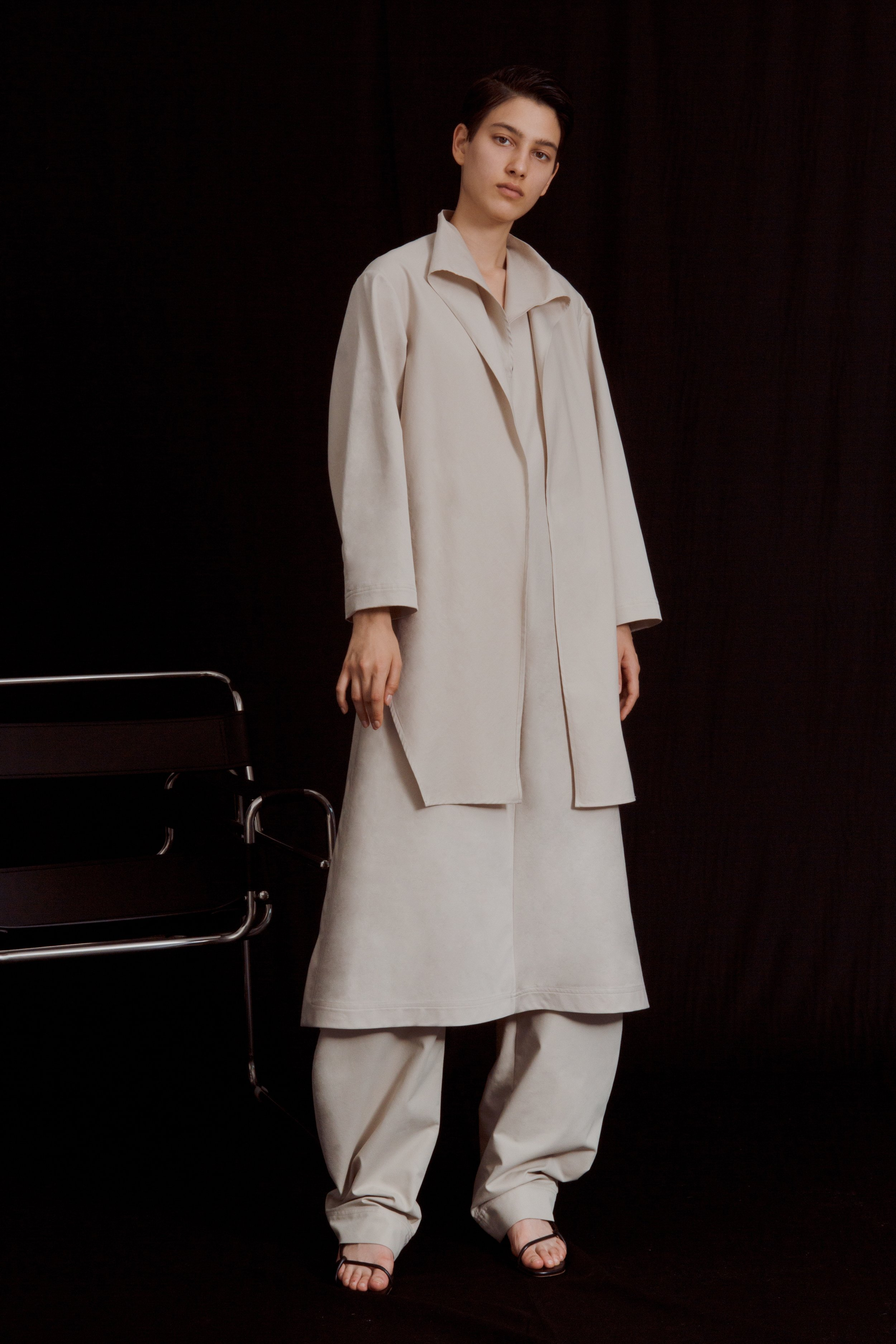 LUCIO   cotton—blend knotted dress and   BRANDT   round trousers in khaki