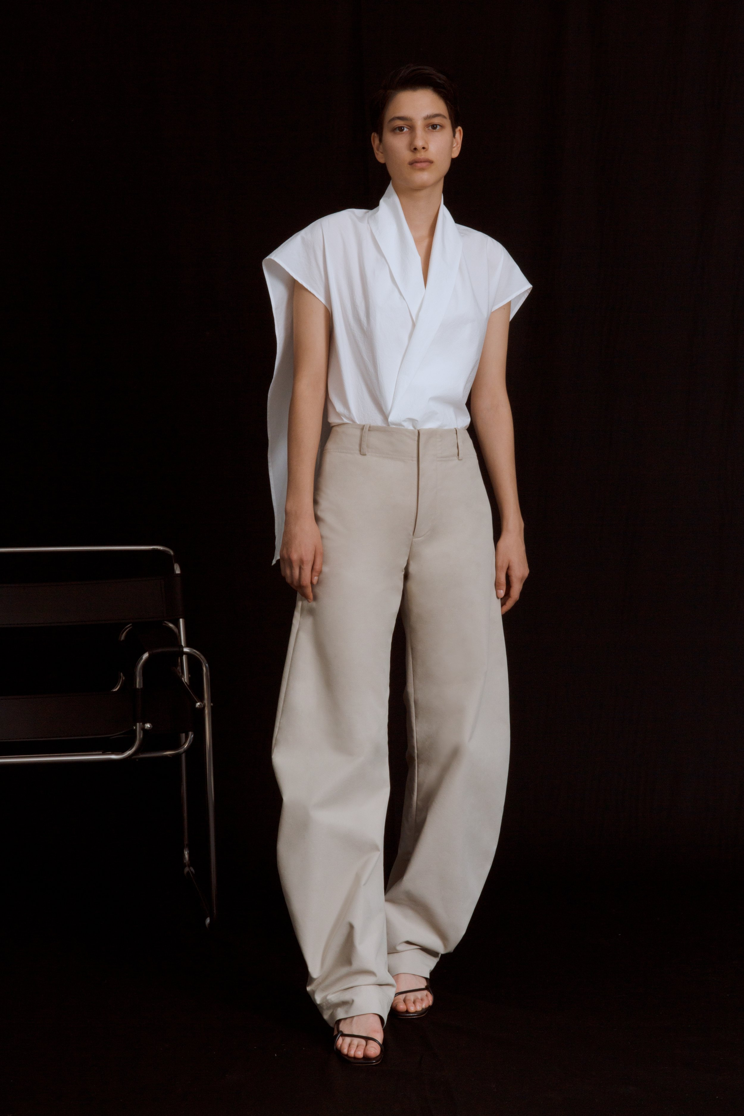 CRUZ   draped blouse in distressed cotton and     BRANDT   round trousers