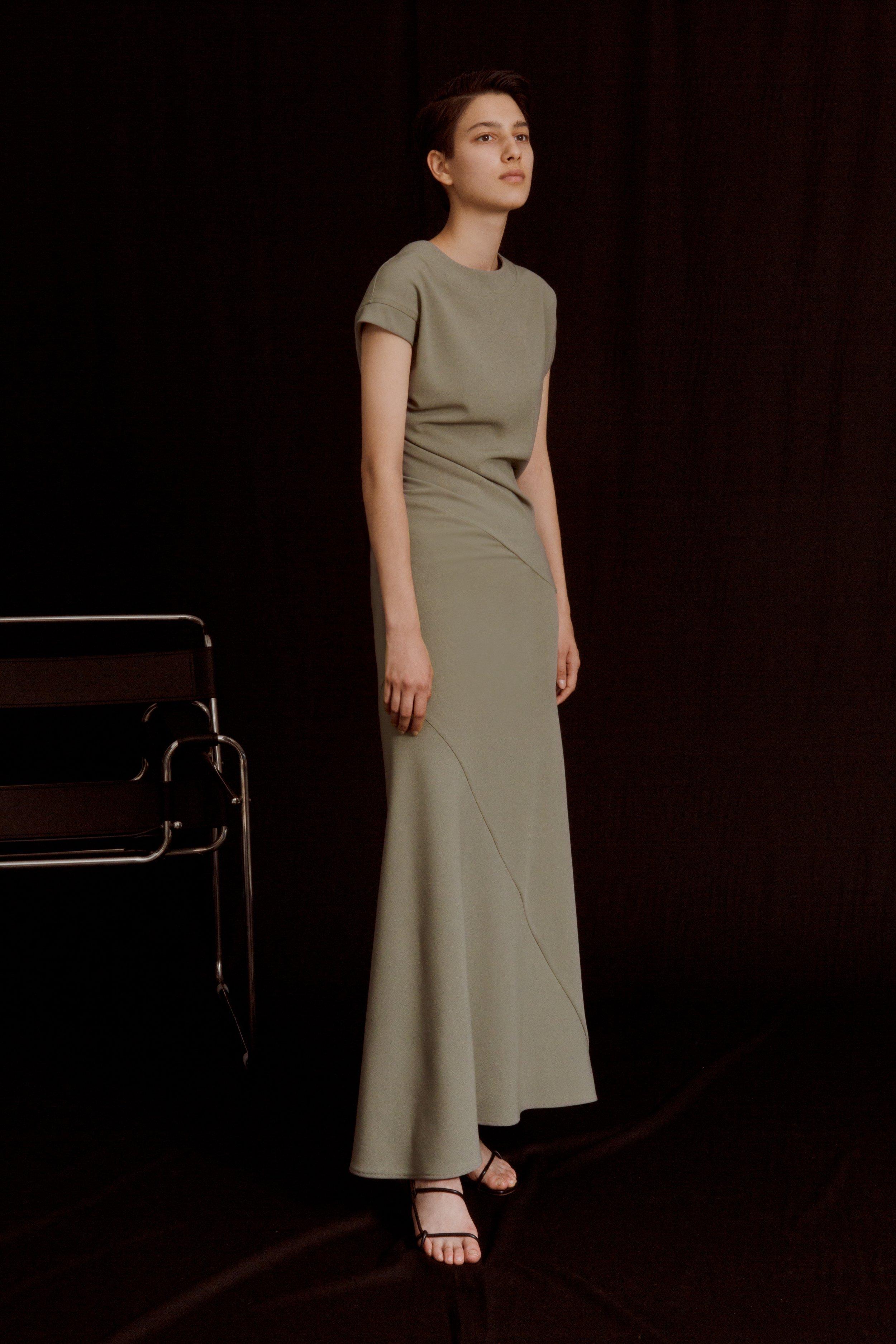 SMITHSON   twisted seam dress in sage green