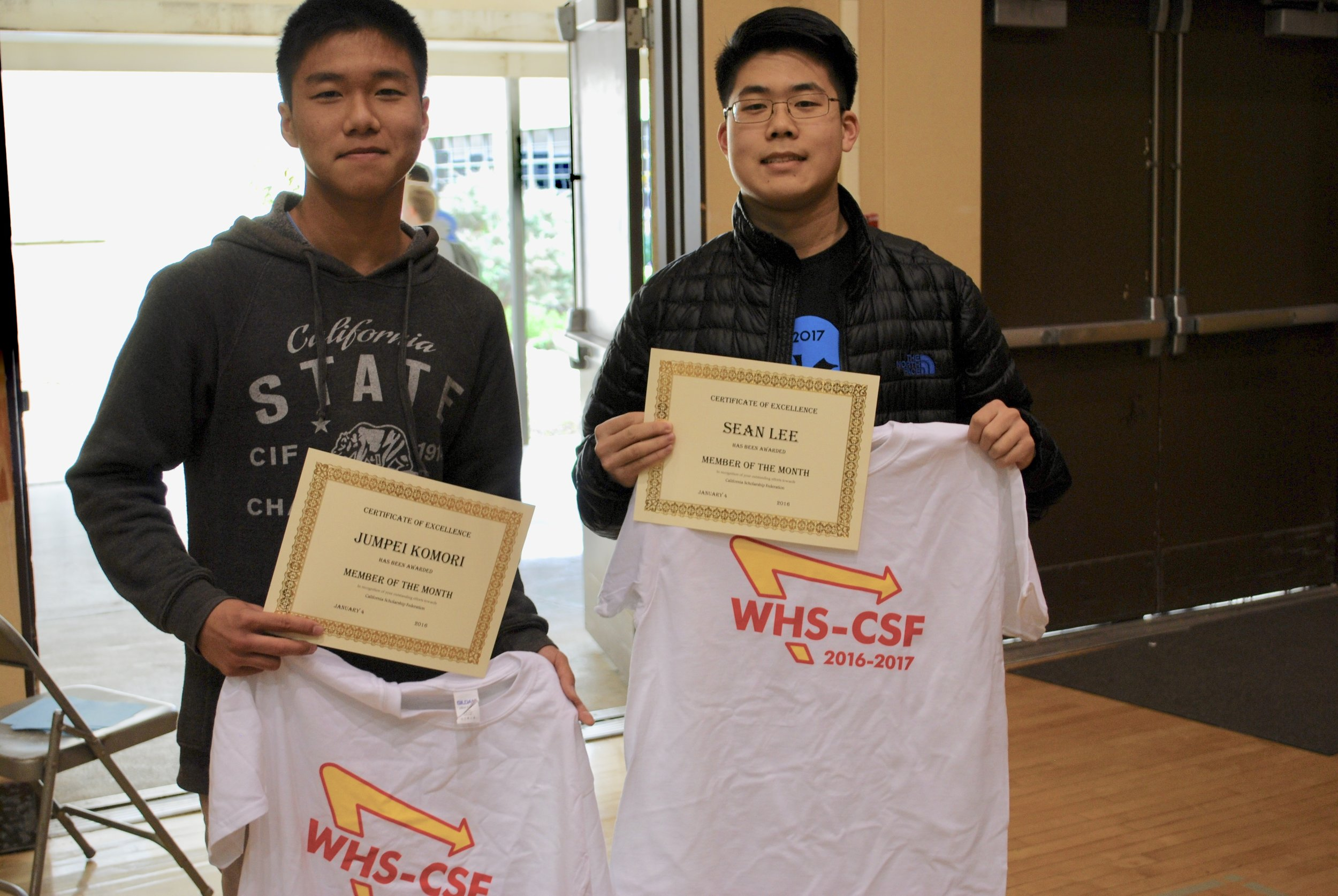 Congrats to our members of the month: Jumpei Komori (left) and Sean Lee (right)!