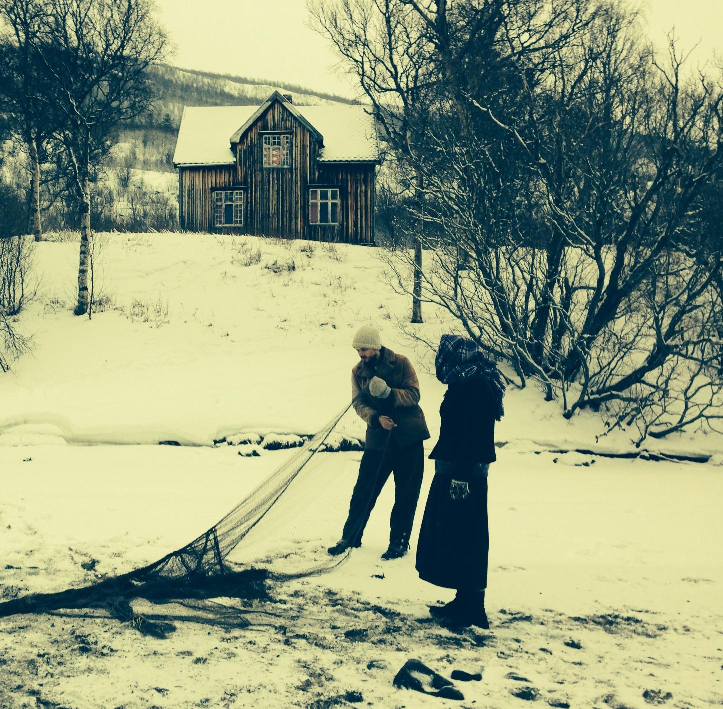 Fra innspillingen av Oktav. Skuespillere Ørjan Steinsvik og Agnete Båtnes Braaten. Foto: Inger Birkelund