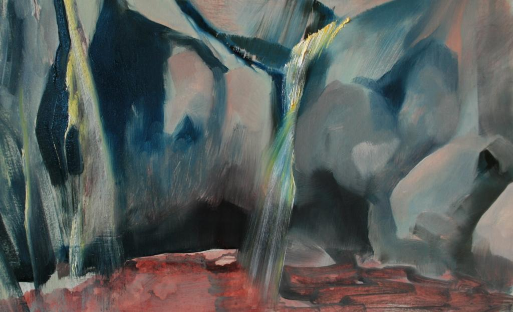 Landscape versus place III, 375x580mm, oil on 640gsm Lanaquarelle card, $490