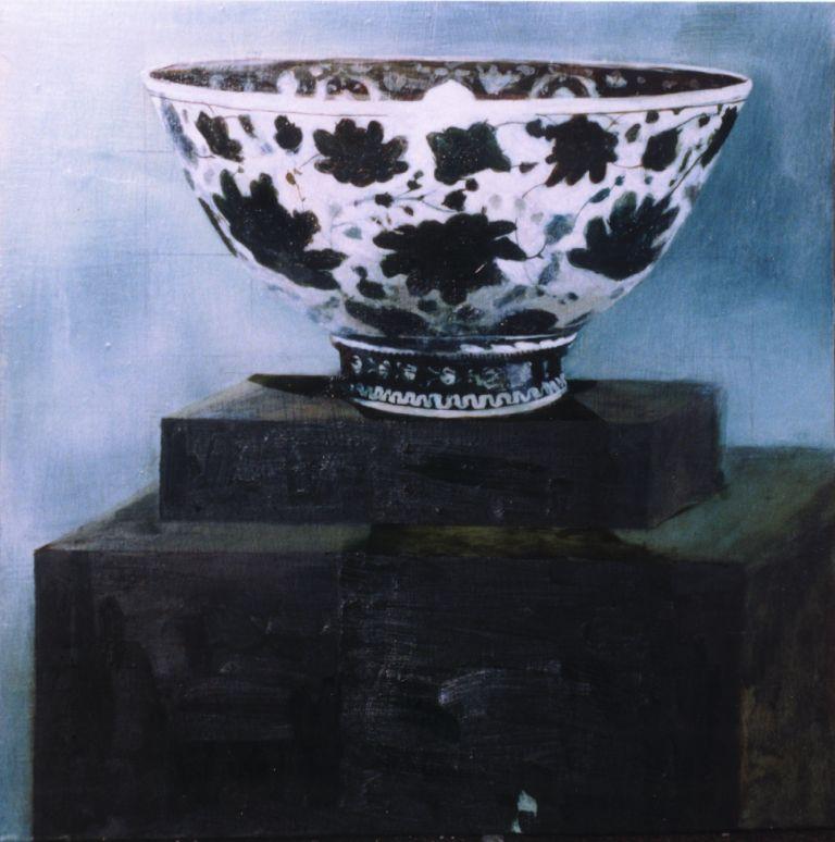 Bowl on a plinthe, oil on board, 600x600mm, 1998