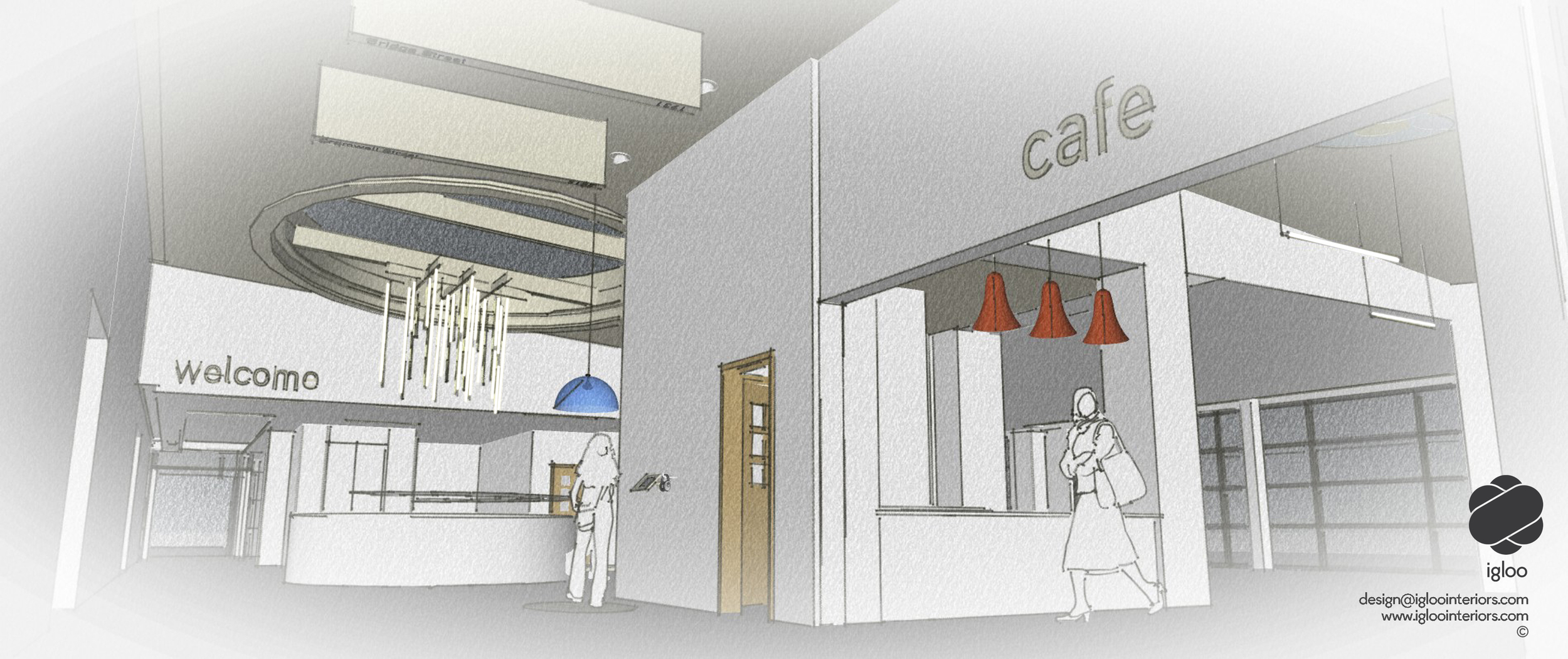 Interior sketch for client approvals