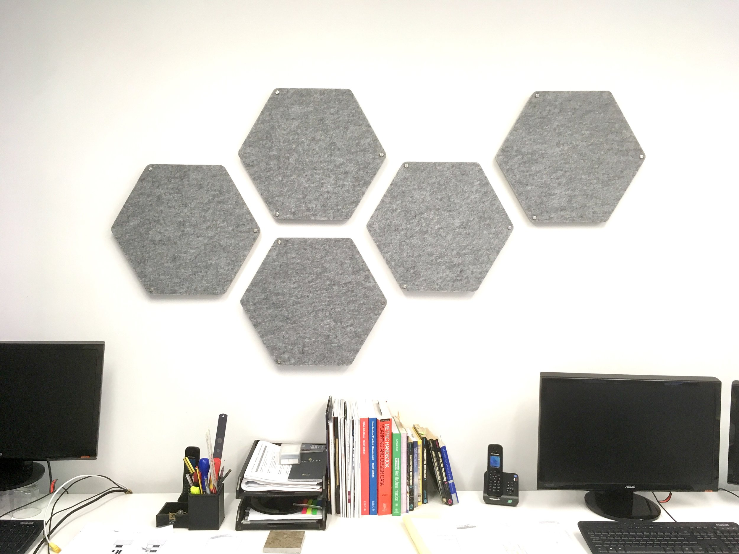 HEXIE-DESIGNER Sound Absorbing Hexagonal ACOUSTIC WALL PANELS. Melange Grey, Feature wall, Sound Reducing, Living Room, Dining Room, Home Office, Sound Studio, Standoff Fixings Incl SOLD IN SETS of 3