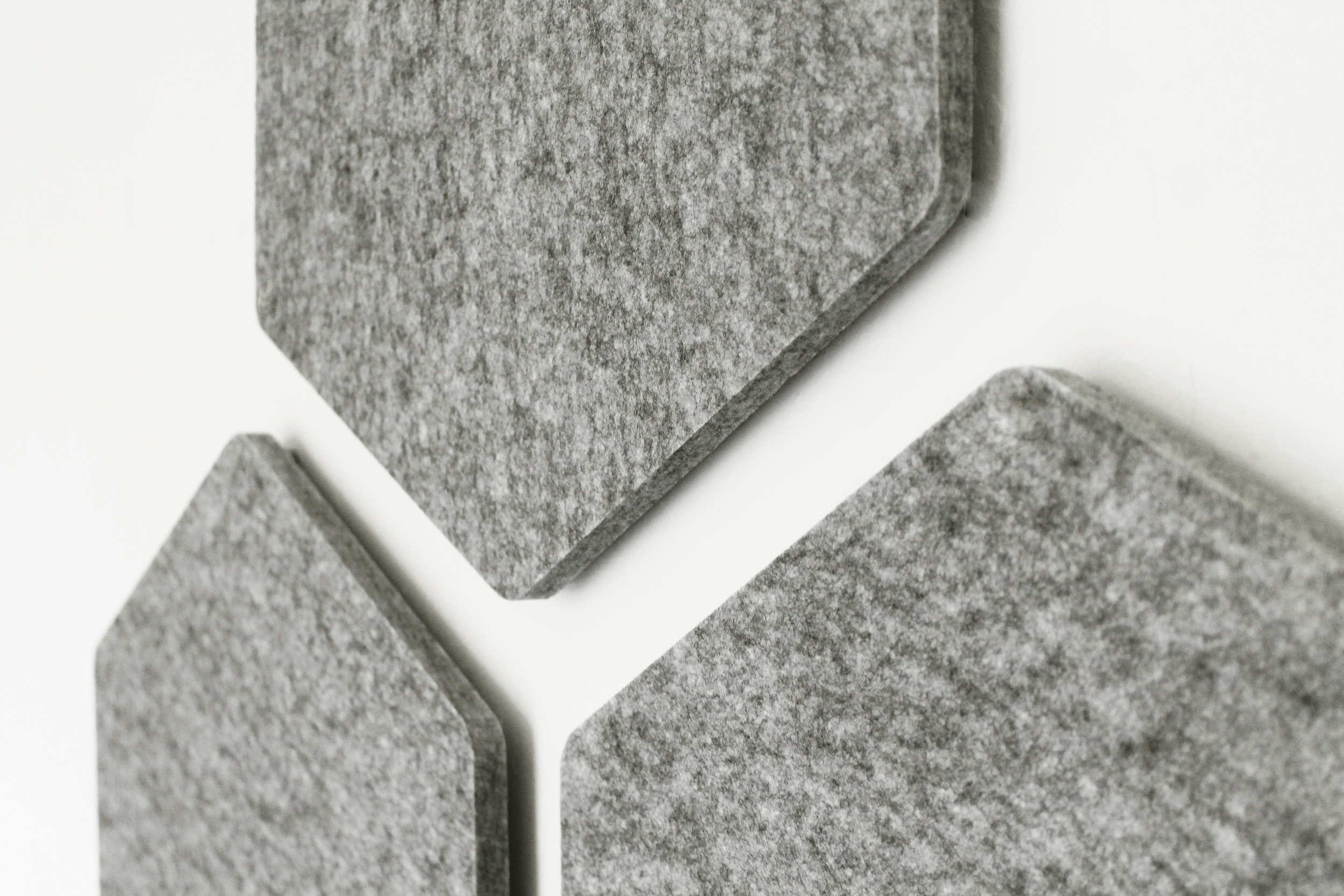 HEXIE-DESIGNER Sound Absorbing Hexagonal ACOUSTIC WALL PANELS. Melange Grey, Feature wall, Sound Reducing, Living Room, Dining Room, Home Office, Sound Studio, ADHESIVE Fixing Incl. SOLD IN SETS of 3