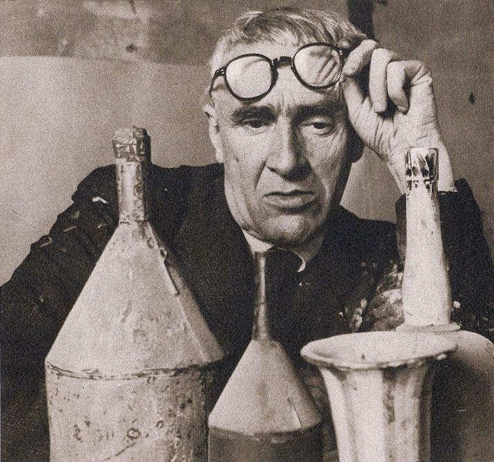 Giorgio Morandi in his studio, Bologna 1953