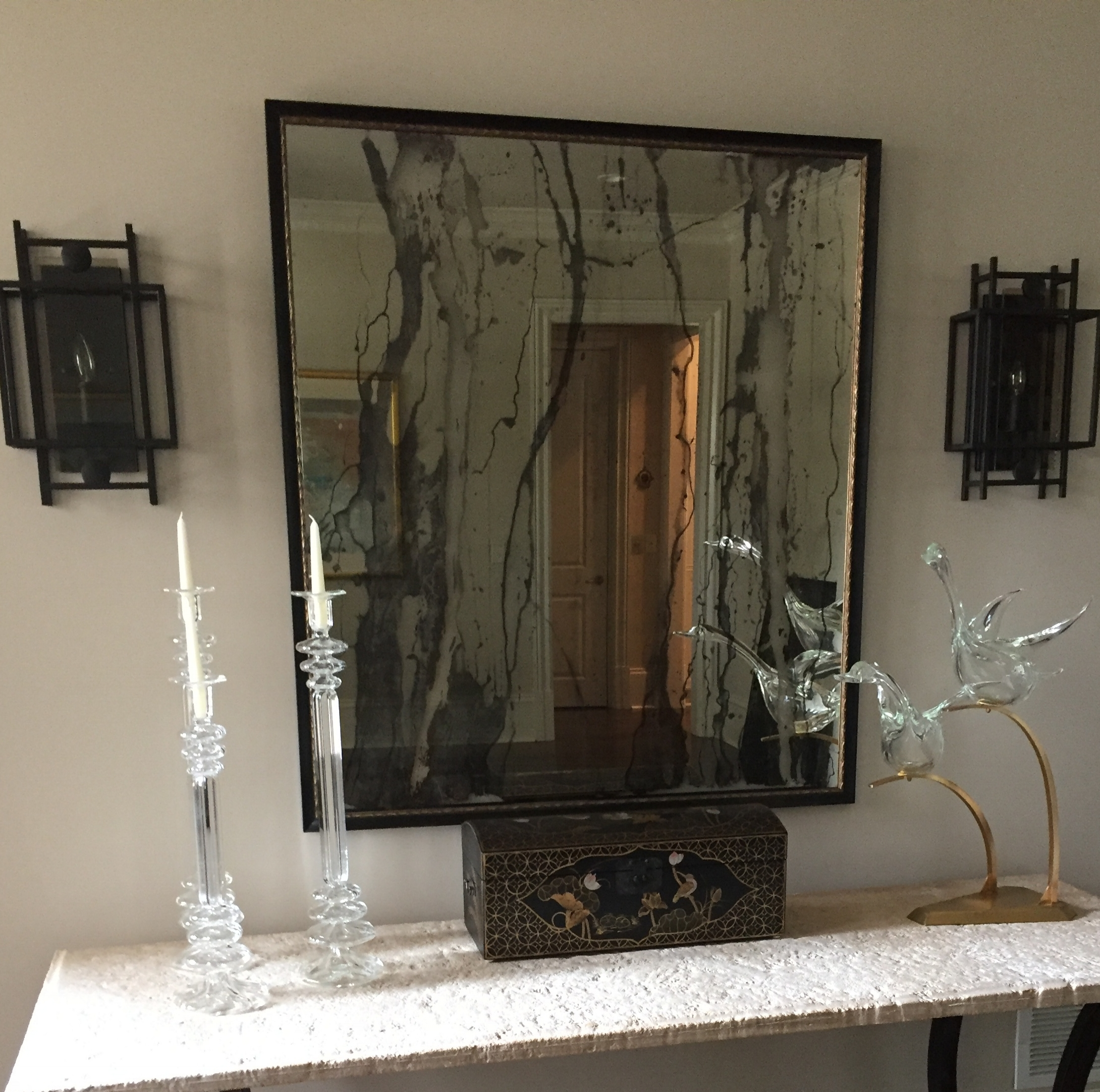 Lobby Mirror - Antiqued Striations