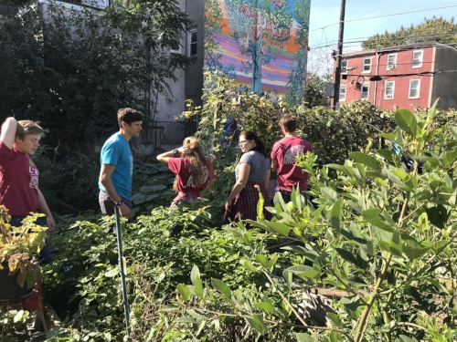 Youth exploring the Norris Square Neighborhood Project garden in North Philly.
