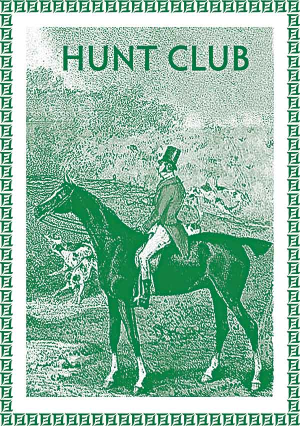 Hunt Club    Masculine or feminine.  Hunt Club is an equestrian perfume with wood, saddle leather, and lemon verbena. The notes are fresh and clean, with an opening of Virginia cedar, lemon verbena, cascarilla, and allspice. The perfume evolves into jasmine sambac, oak, sandalwood, leather, and light musk.