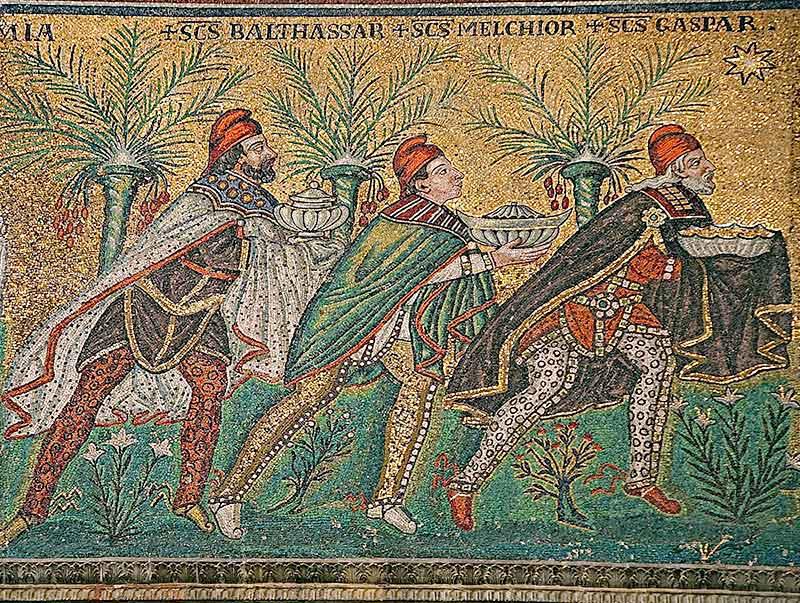 The Three Magi, Byzantine mosaic c.565,Basilica of Sant'Apollinare Nuovo,Ravenna, Italy