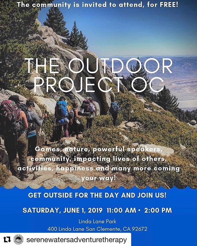 #Repost THANK YOU! JOIN US TODAY in creating incredible outdoor experiences for our community! 🦋☀️🏄🏼♂️ @serenewatersadventuretherapy ・・・ If you have some free time today check out this free event. 🌞💚🌎👍😀🧡⭐️🌼🐚🌲🐾🐬🐟🐶@theoutdoorprojectoc is ready to launch their plans to serve the community of orange county by providing more access to outdoor activities. #helpingothers #adventure #outdoors #nature #fun #health #healing #stressreduction #california #orangecounty #adventuretherapy #surftherapy #hikingadventures #hiking #hikingtherapy #meditation #mindfulness #standuppaddleboarding #diving #beach #mountains #health