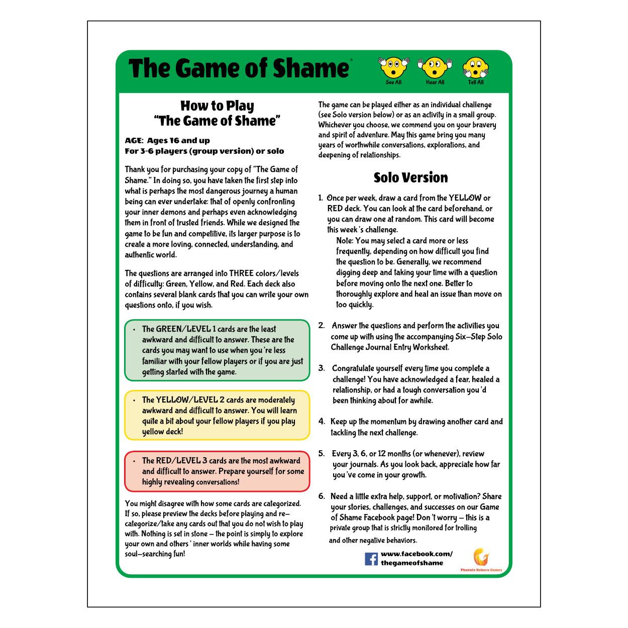 Rule Sheet Design - Game of Shame