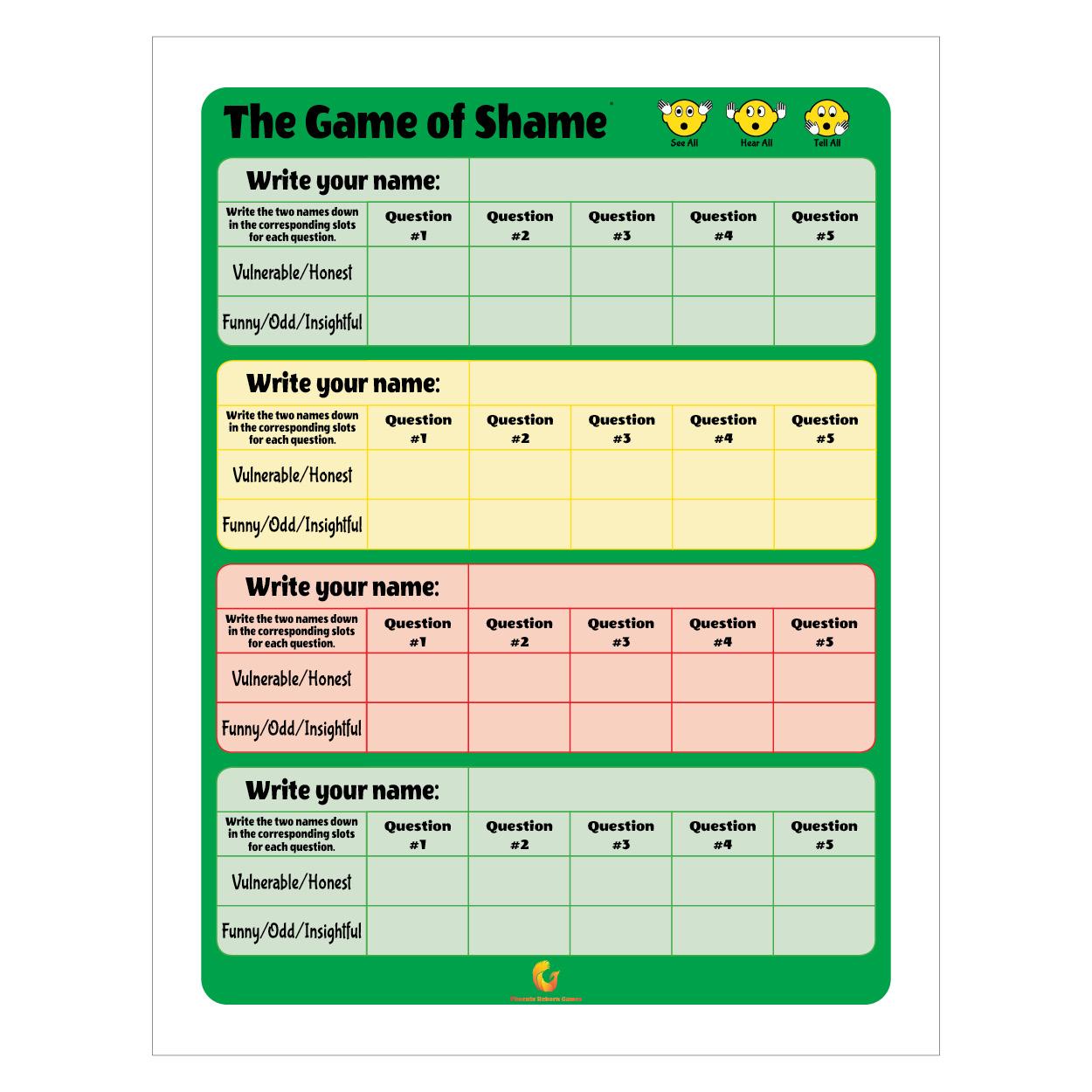 Scoresheet Design - Game of Shame©