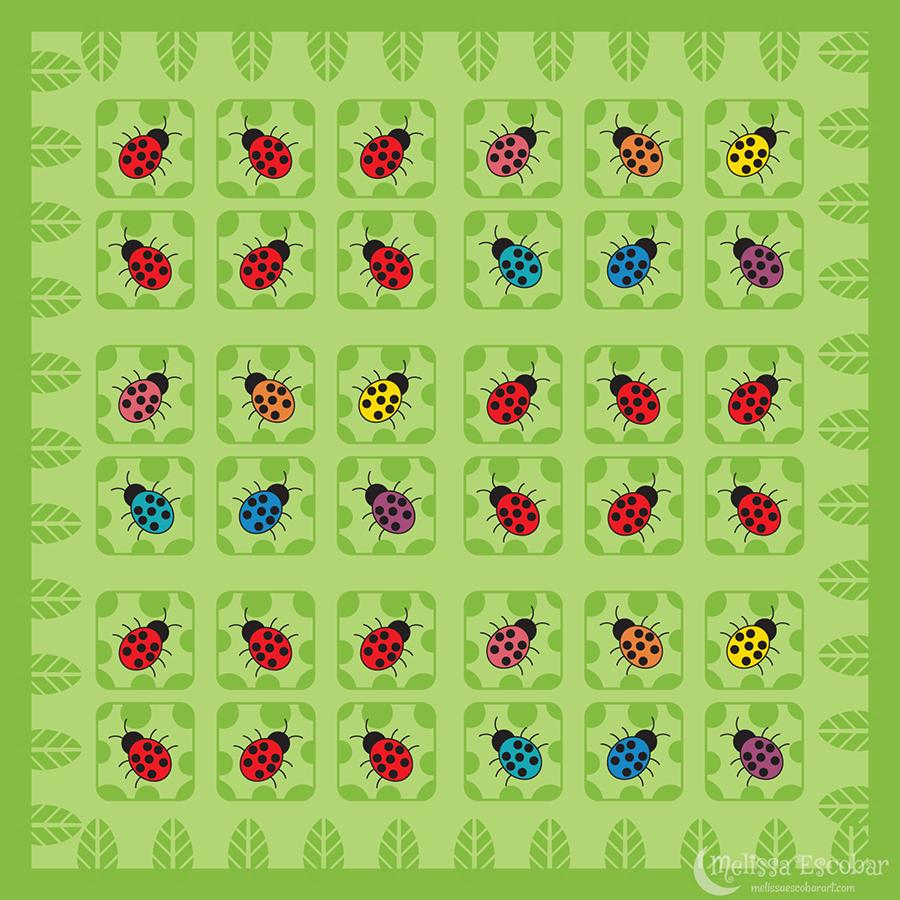 Ladybug Square Sticker Designs