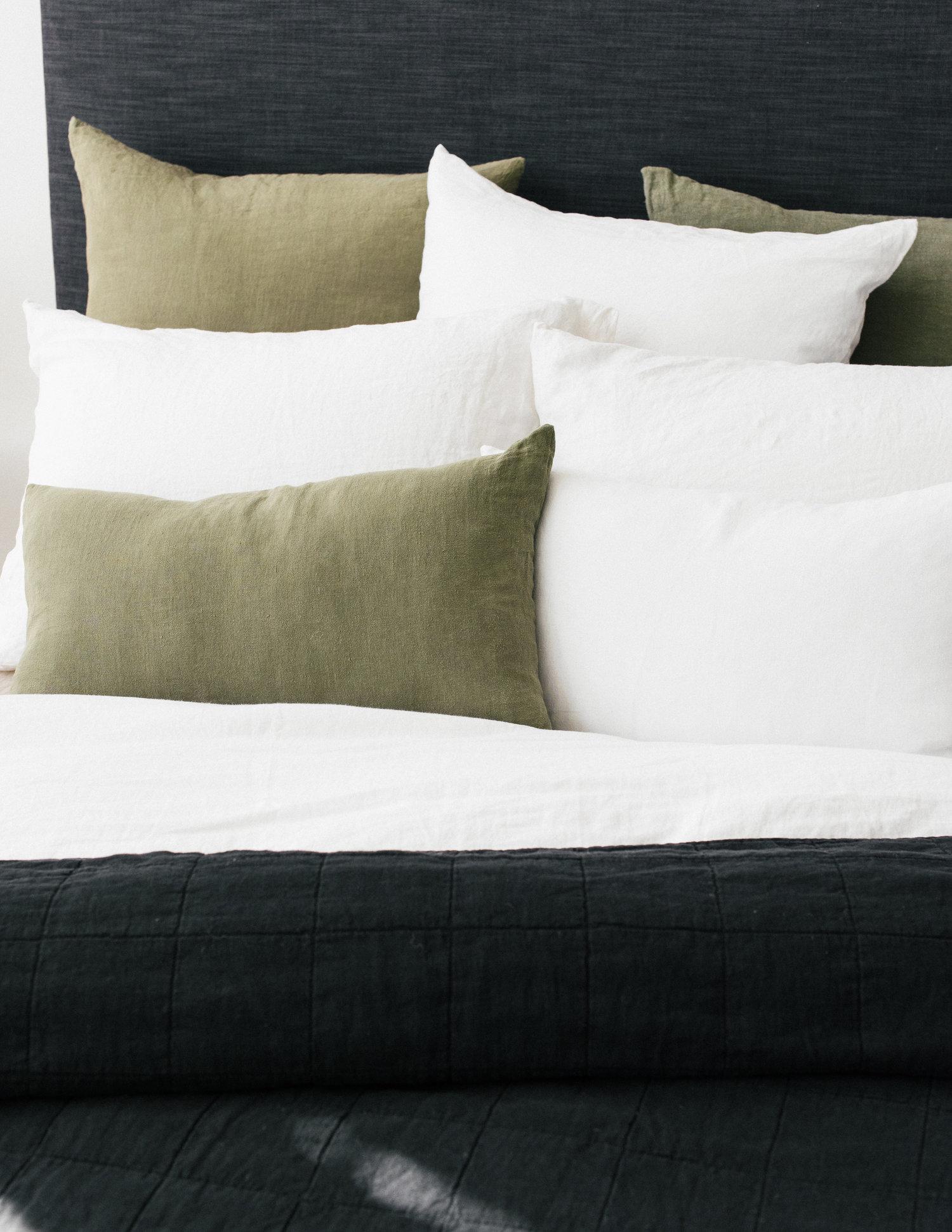 Olive Linen Lumbar Pillow Set Of 2 Sunday Shop