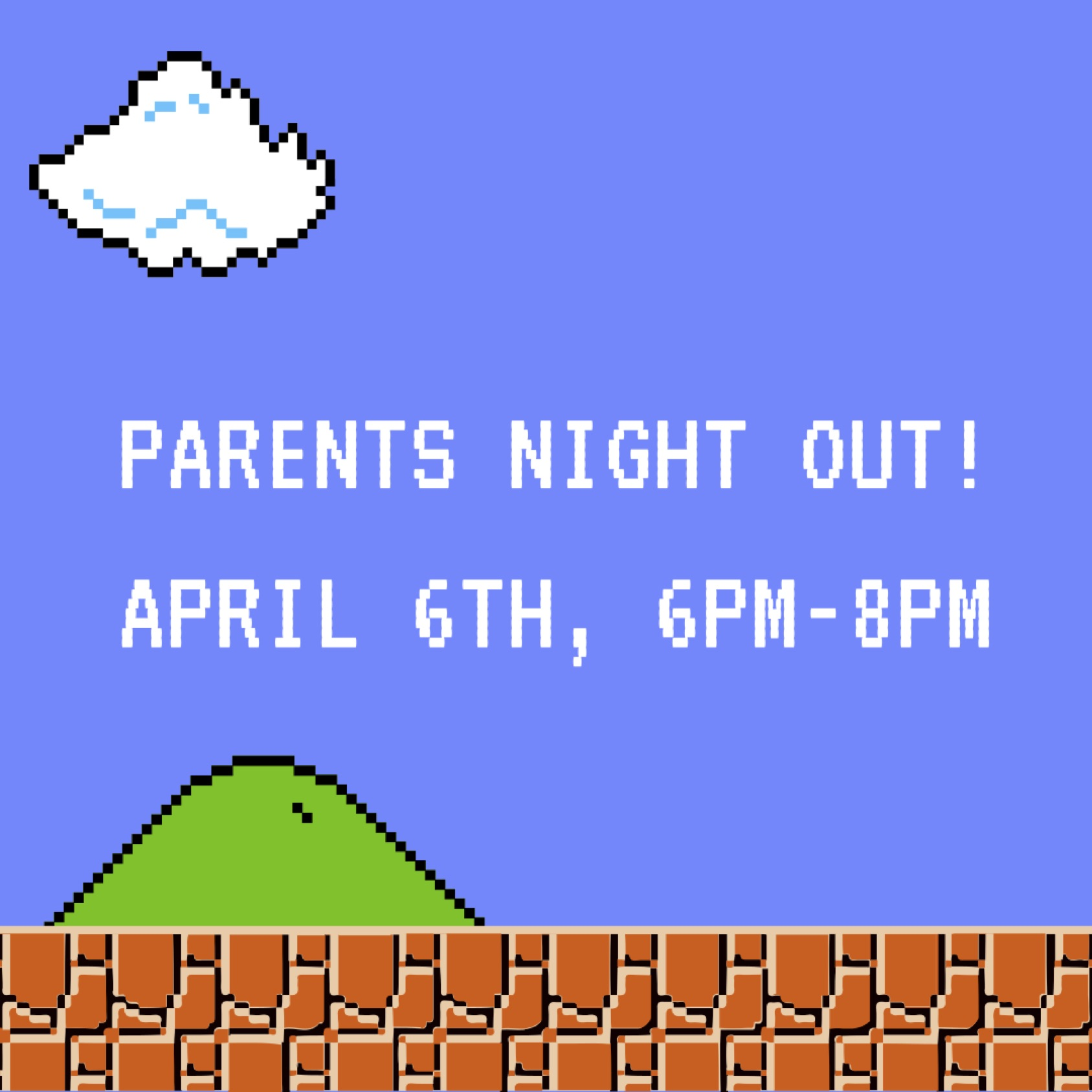 PARENTS NIGHT OUT, APRIL 6TH, 6-8p! Free Event! We'll be having a blast at the Grey Eagle Arena, 17 White Pine Dr. Black Mountain. Food, Bounce House, Games and more! Drop off or Hang out! Invite a friend! Pre-k thru 5th Grade. Let Joshua know you'll be there, joshua@mvcnc.com.