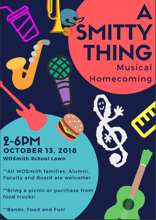 PARTY TIME - Mark your calendars now for A SMITTY THING!We'll be hosting a musical homecoming on Saturday, October 13 from 2-6pm at the school. Stay tuned for more details and a formal invitation!