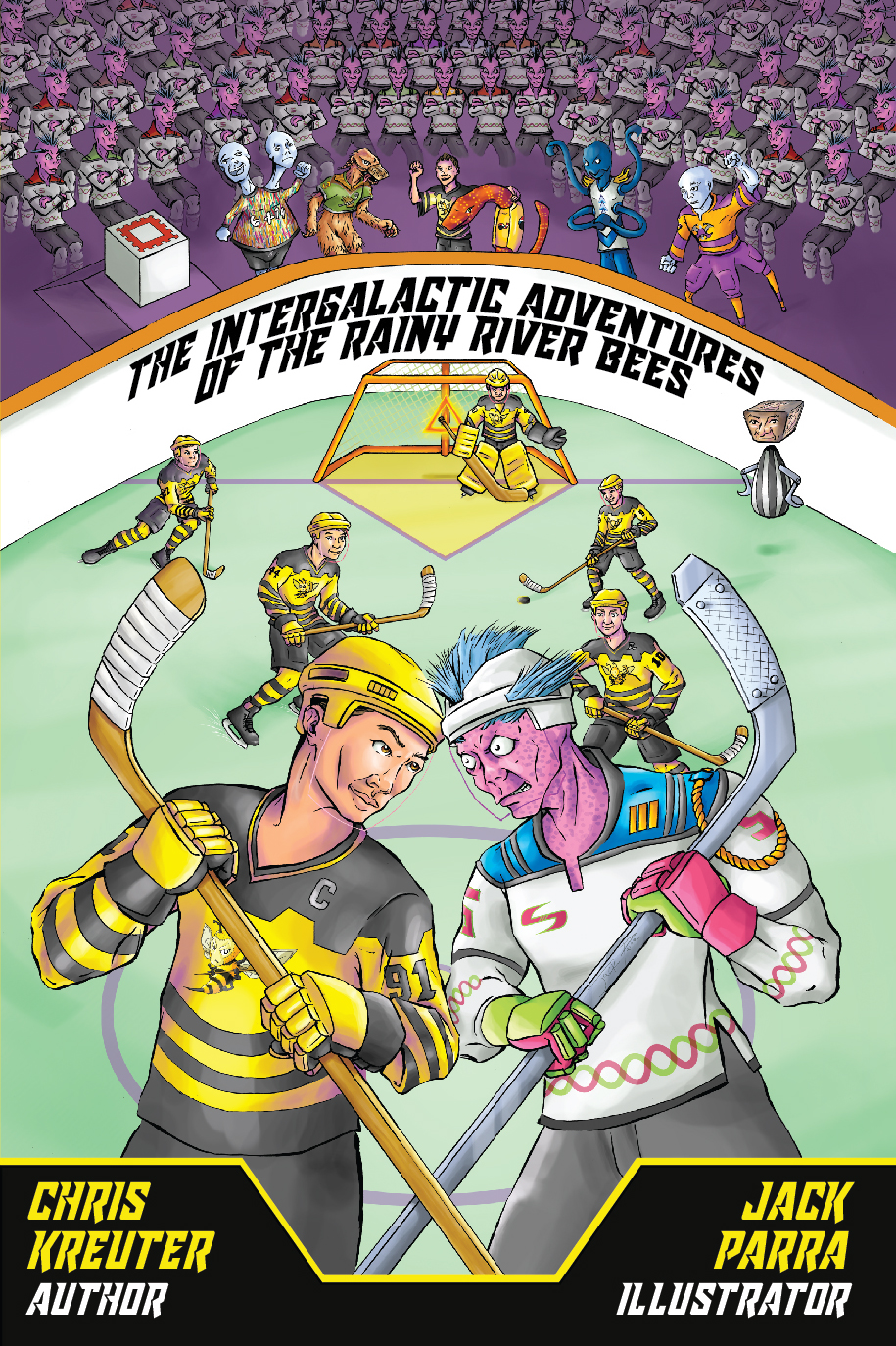Intergalatic Adventures of the Rainy River Bees - The Rainy River Bees are an elite peewee hockey team. Moments after winning a championship, they get abducted by aliens, aliens that love hockey! They rocket across the universe to play in the Intergalactic Hockey Championship & save...everyone & everything.It's up to the twelve Bees and their new friends to save the day.