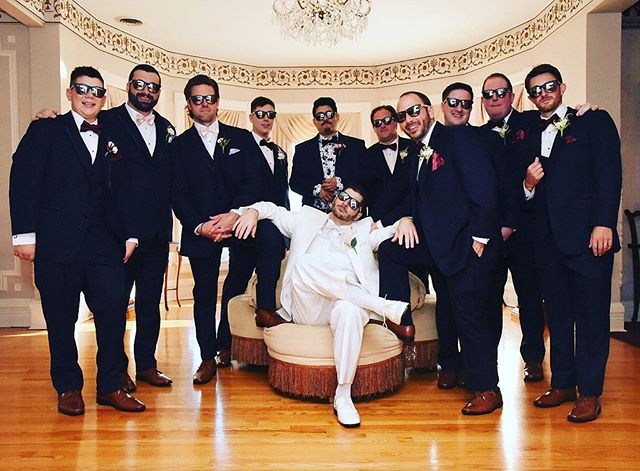 This is how a hockey player gets married, bring the squad & have all the boys in Blade Shades...🏒😎 — 📷: @nicholasad10 This is probably up for Blade Shade photo of the year, all the boys in Blade Shades...🏒😎 — We have wedding party discounts! Send us a dm if you want your wedding party to rock Blade Shades...🏒😎 — #hockeyislife #sunglasses #hockeyplayer #weddingideas #weddingplanner #hockeyboys #ferda