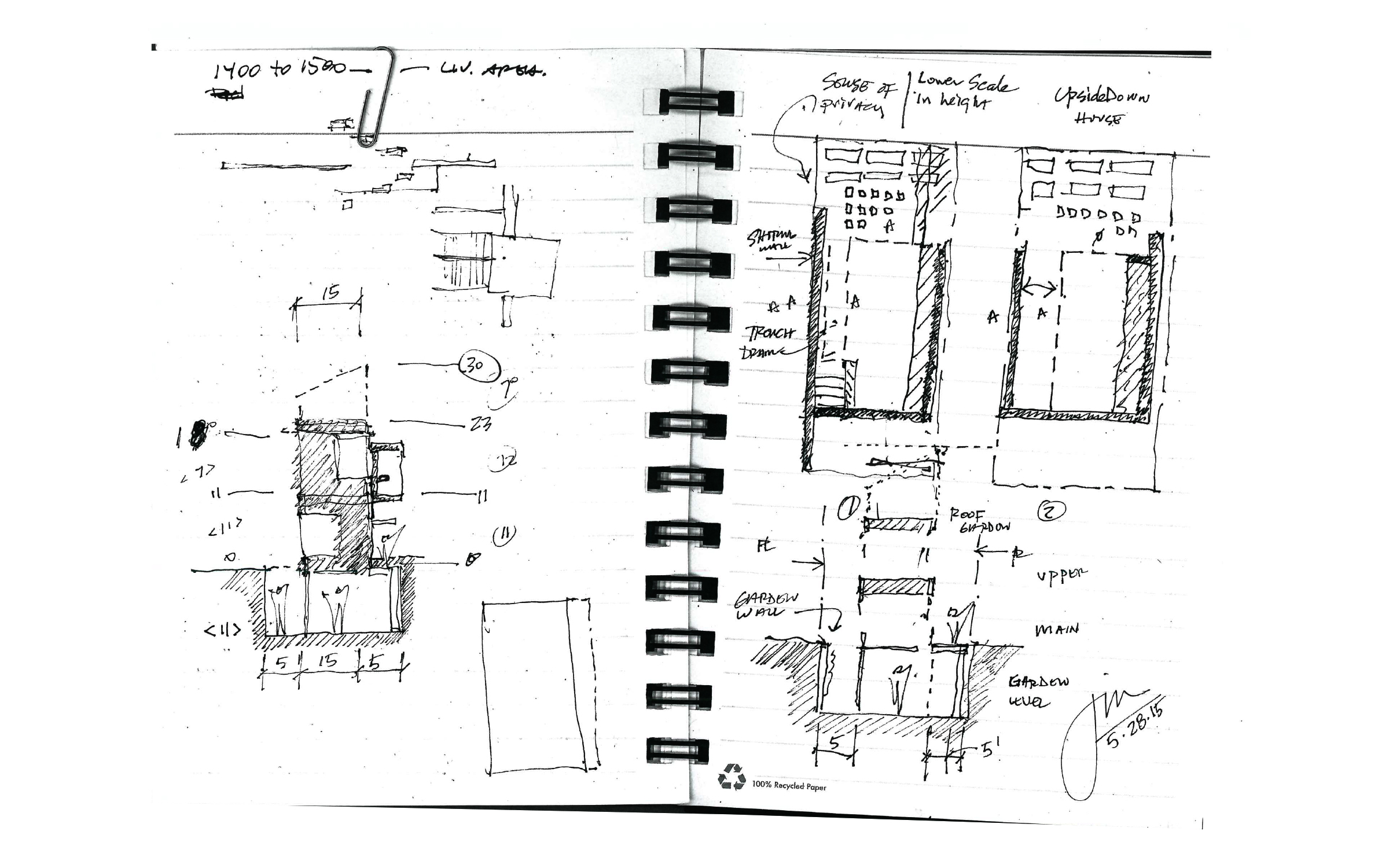 Jim's initial notebook sketches. From the beginning, we knew we  would need to bury the house into the ground in order to achieve multiple floors with the city's height restriction.