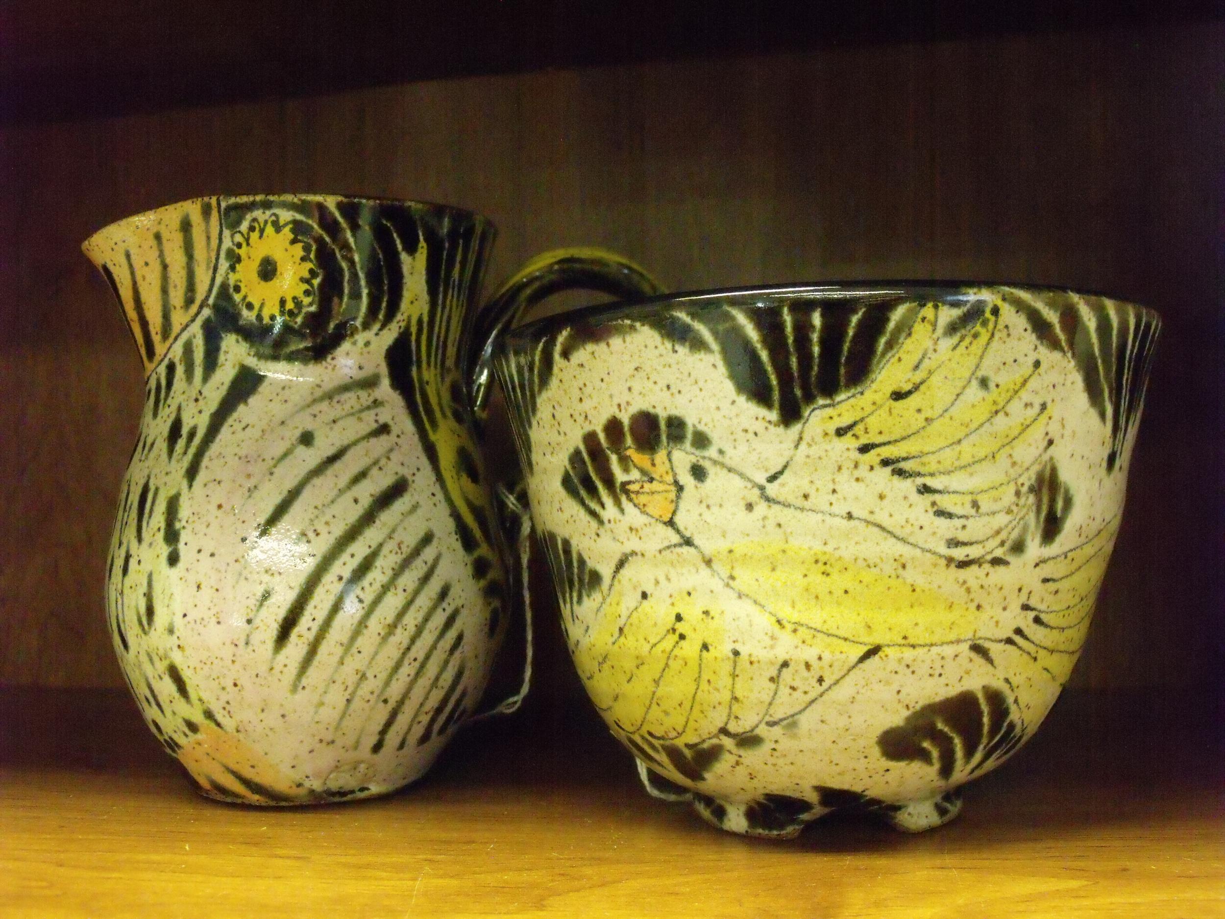 Bird Creamer and Bowl by Carolyn Sleeper