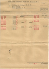 April 1935 bank statement for William I. Cochran, C.S.C. Note that the bank was Engelhard Banking & Trust Co., which later became the East Carolina Bank!