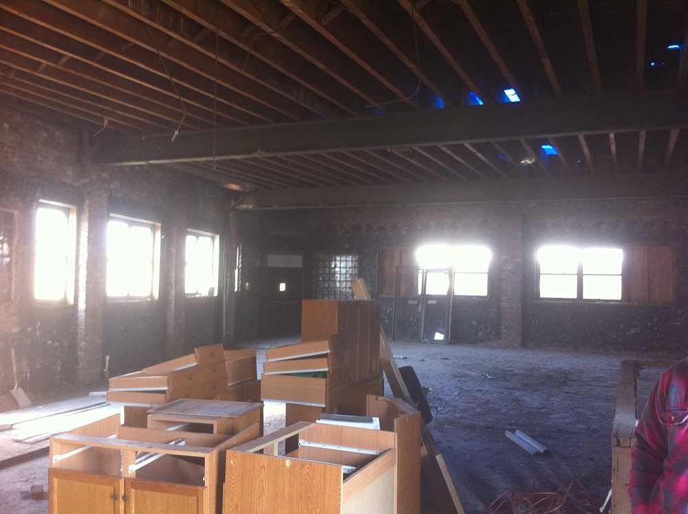 Interior of Jerusalem Avenue Church of God of Christ during construction