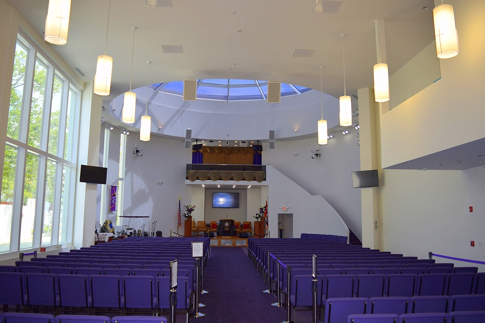 Blue chair seating area for Jerusalem Avenue Church of God of Christ