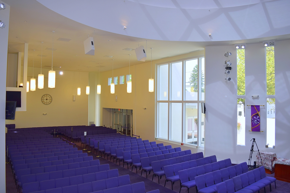 Blue pews at Jerusalem Avenue Church of God of Christ
