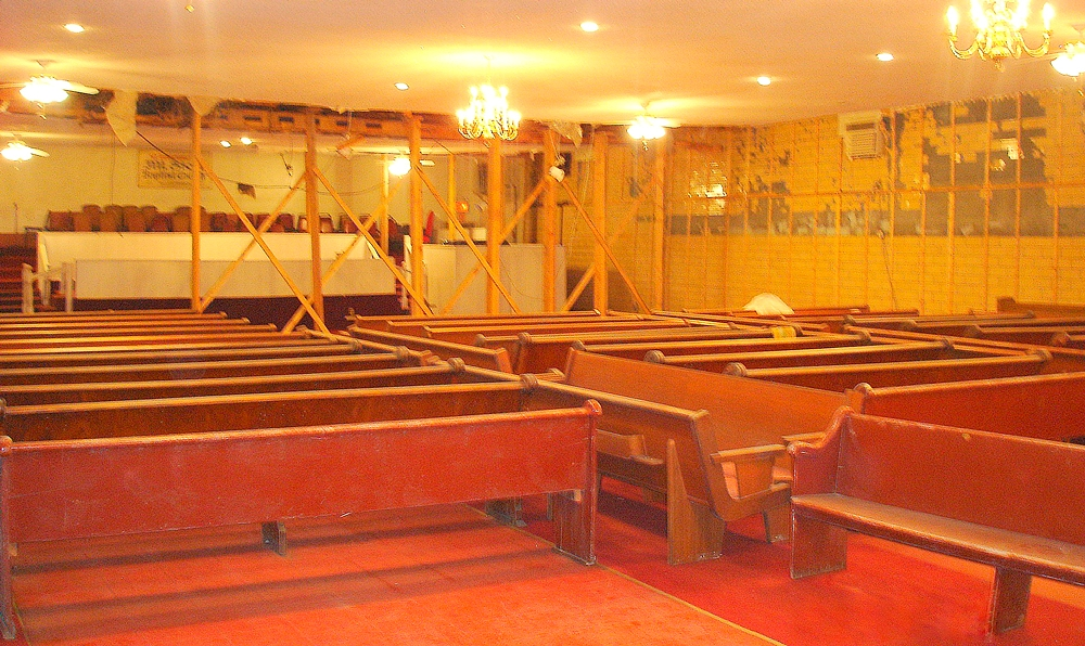 Before image of Mt Sion Baptist Church with wooden pews