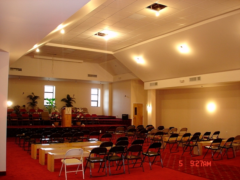 Completed construction of interior redesign of Prospect Avenue Church with pitched ceiling