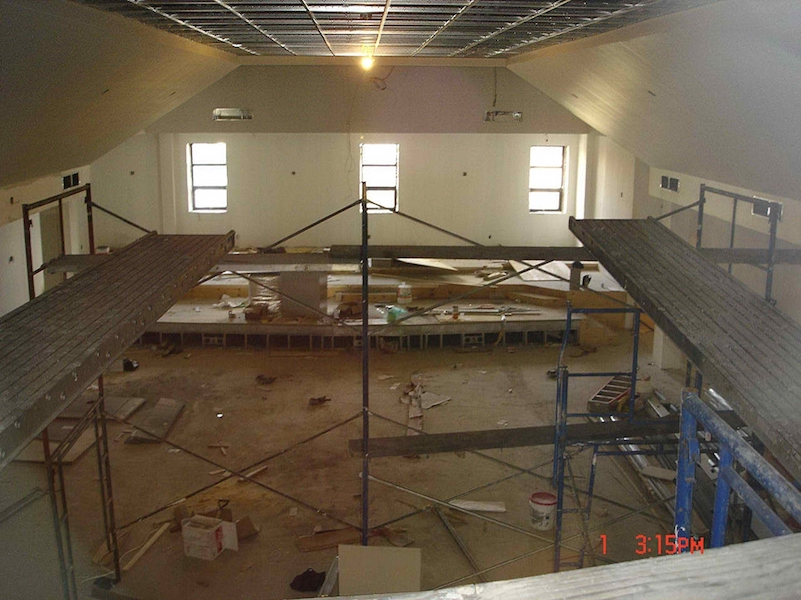 Prospect Avenue church during construction view from rafters