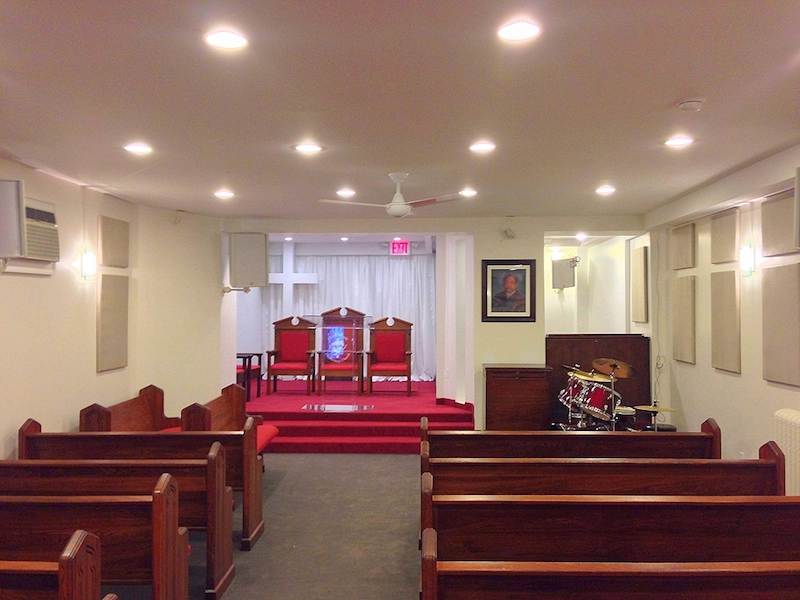 View of church with pews in Christ Pentecostal church after re-design