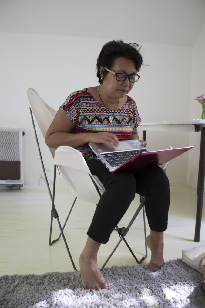 """Hope working on sharing some of her materials with us. She shares her power point on the typhoon below and comments,""""It's really sad the situation in the Philippines. The people were victimized by the typhoon, and again by the actions of the government""""."""