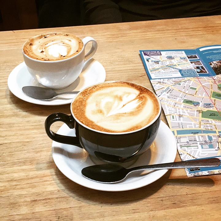 Planning the day over coffees in Dublin, Ireland.