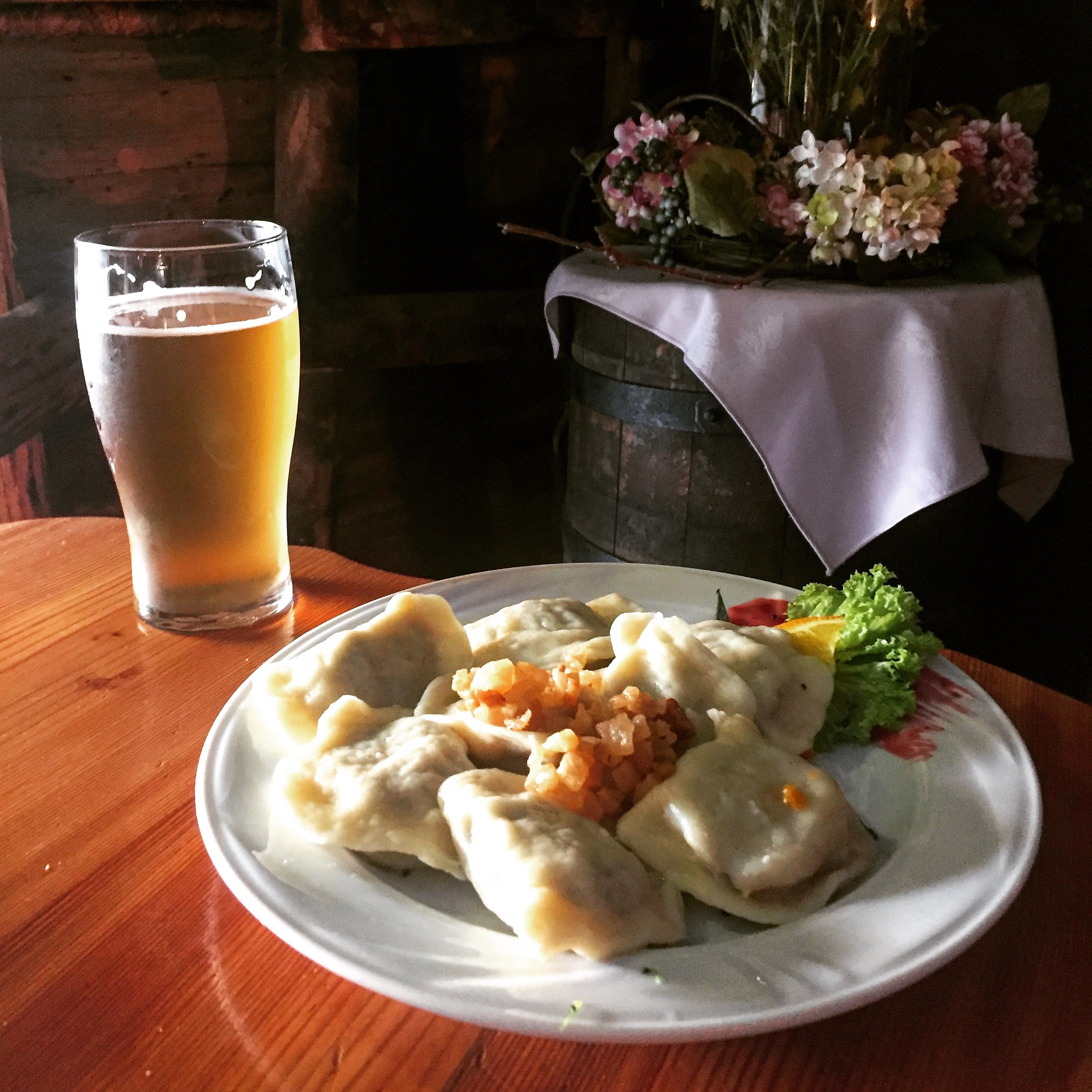 Pierogies and beer at  U Babci Maliny .