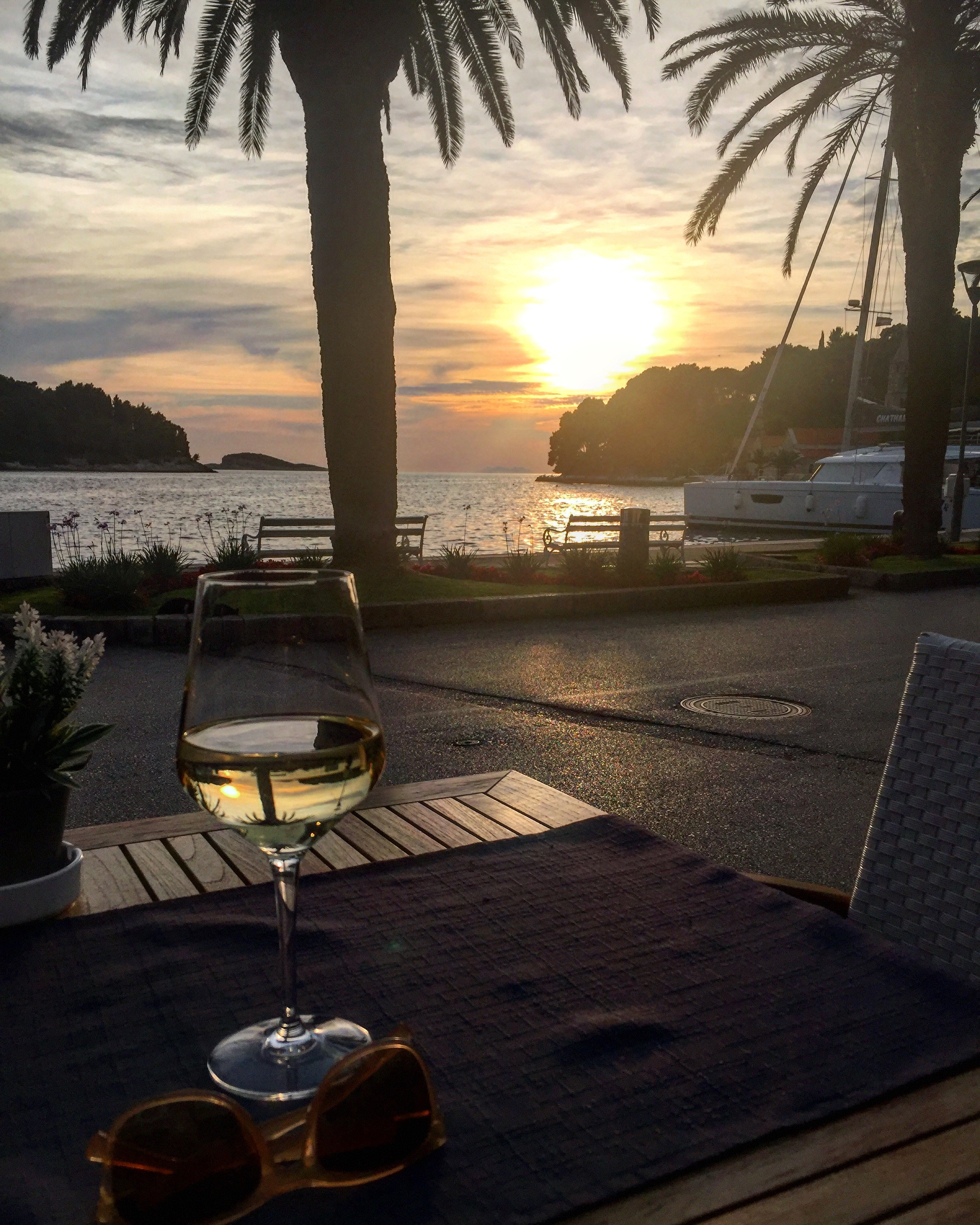 Wine for one with a side of sunset. Cavtat, Croatia.