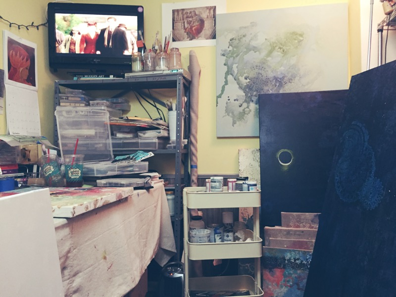 my studio - 9.18.18 (always have to have a movie on! My favorites are BBC British TV or PBS Masterpiece Classic . . . and Outlander of course!)