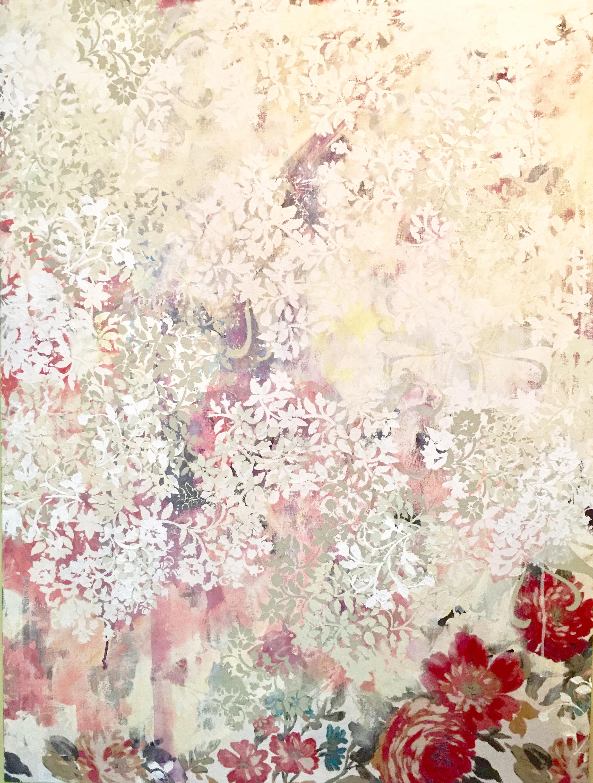 "Ralph Lauren Roses , acrylic, chalk paint on tablecloth, 42""x30"" 2018. Kathryn Neale Studio."