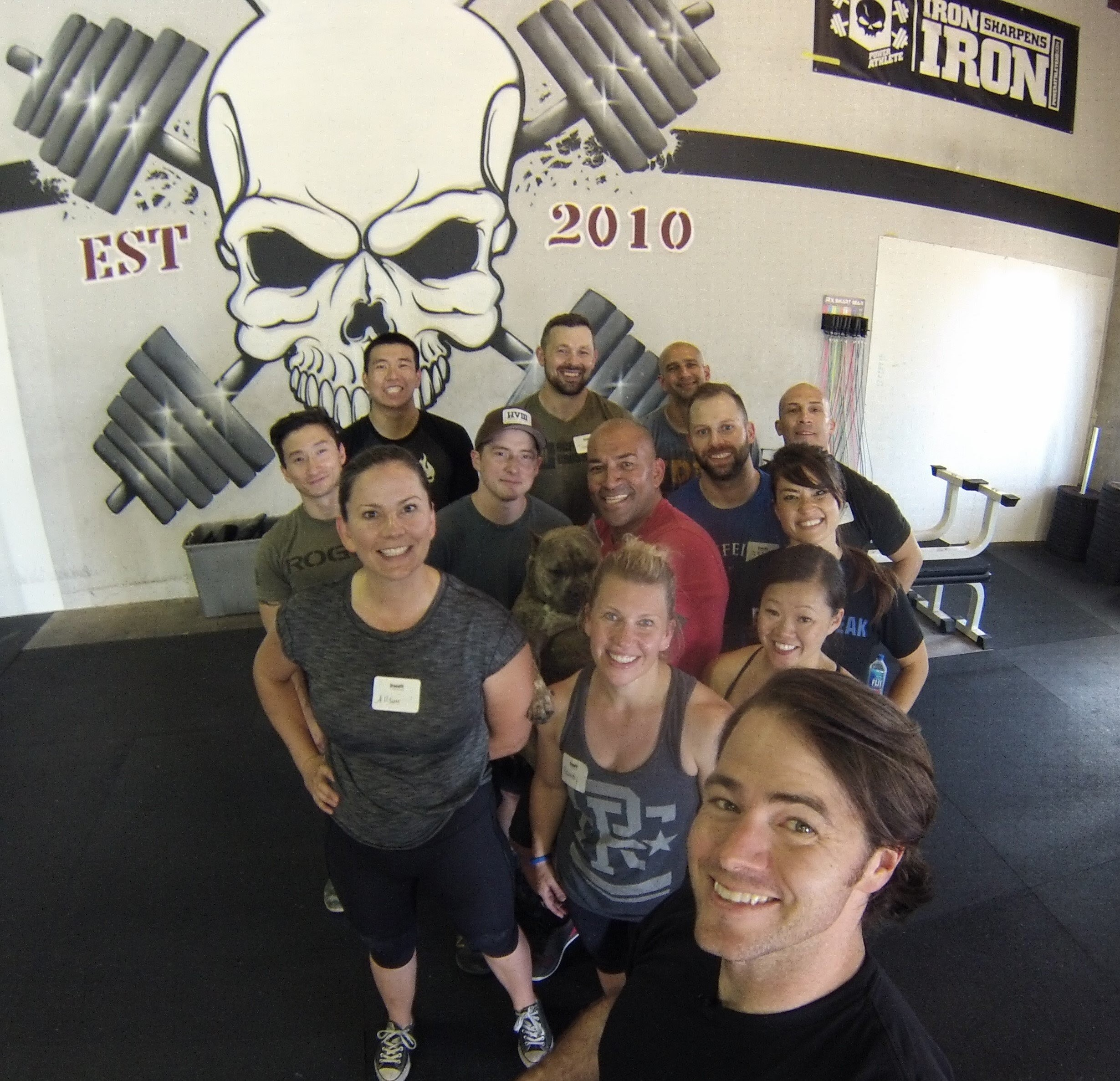 Fun crew at the CrossFit Sports Specific Application course with coach Tex McQuilkin