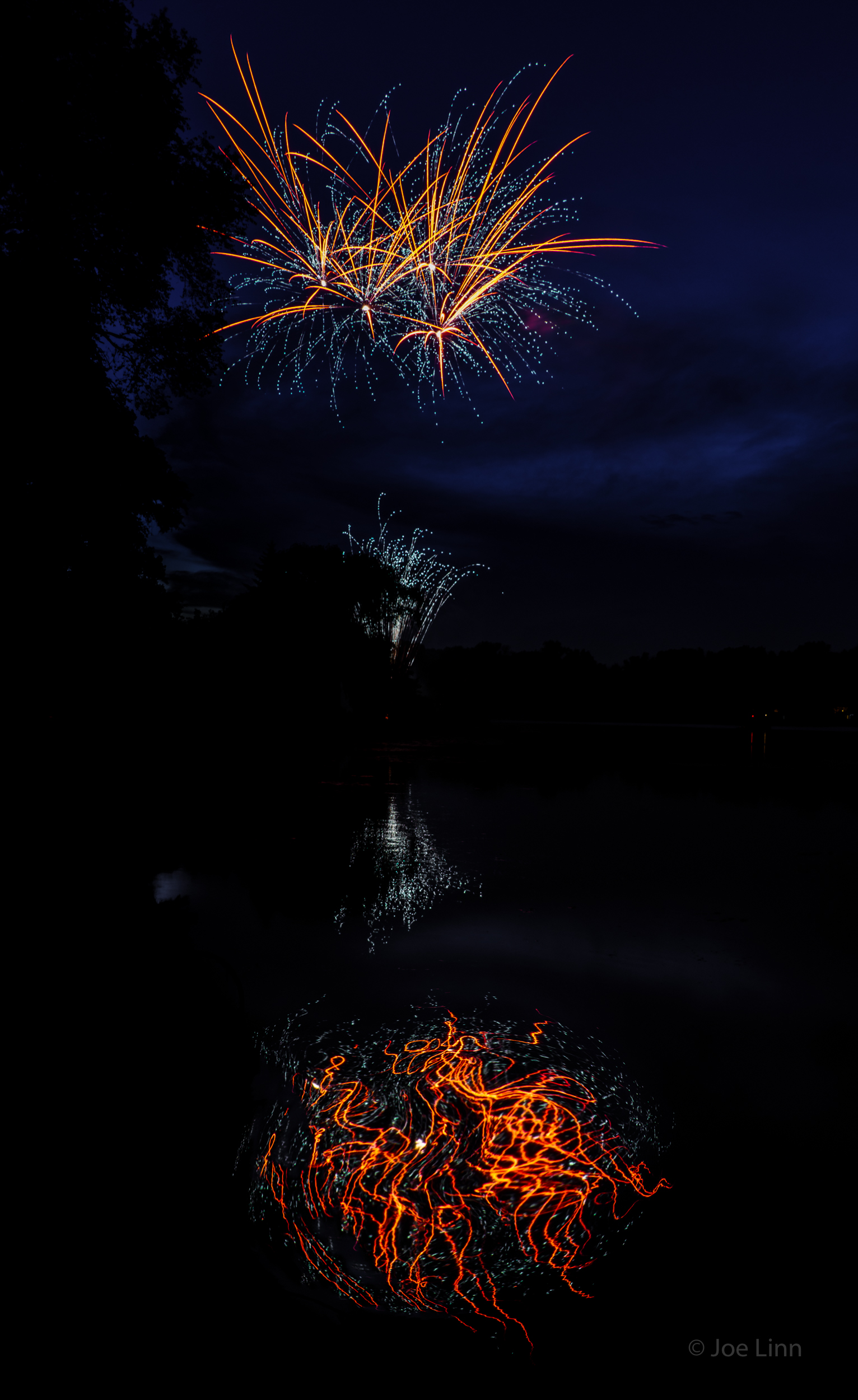 Fireworks reflections
