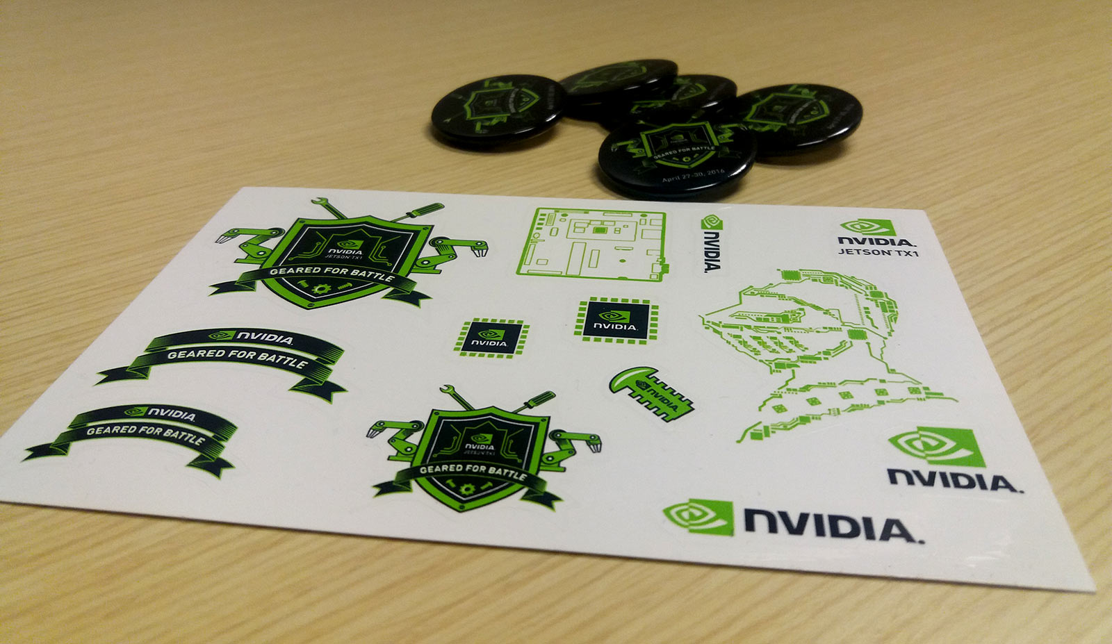 Printed sticker sheets and pins