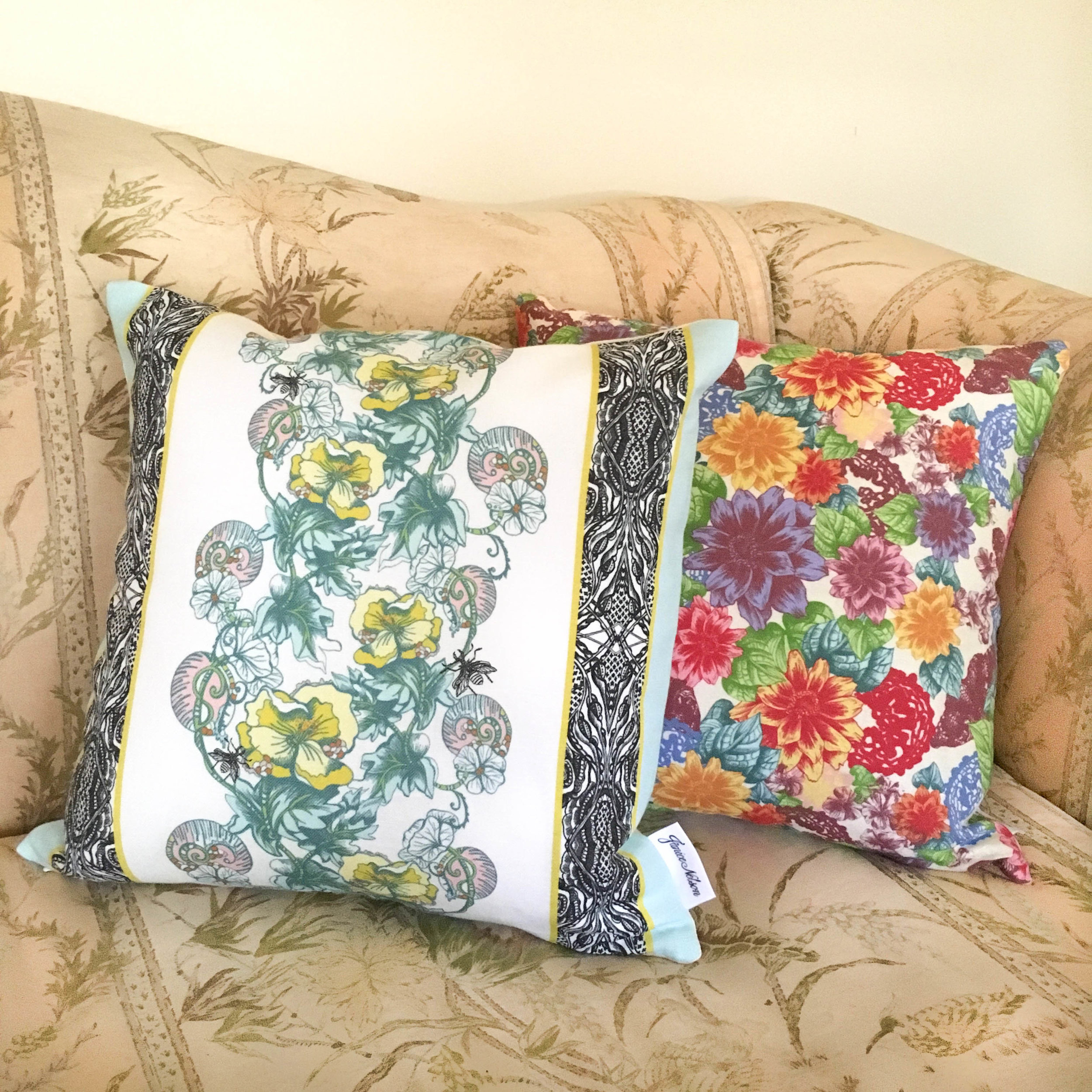 Made in USA Celandine Pillow with Zale Pillow displayed on sofa