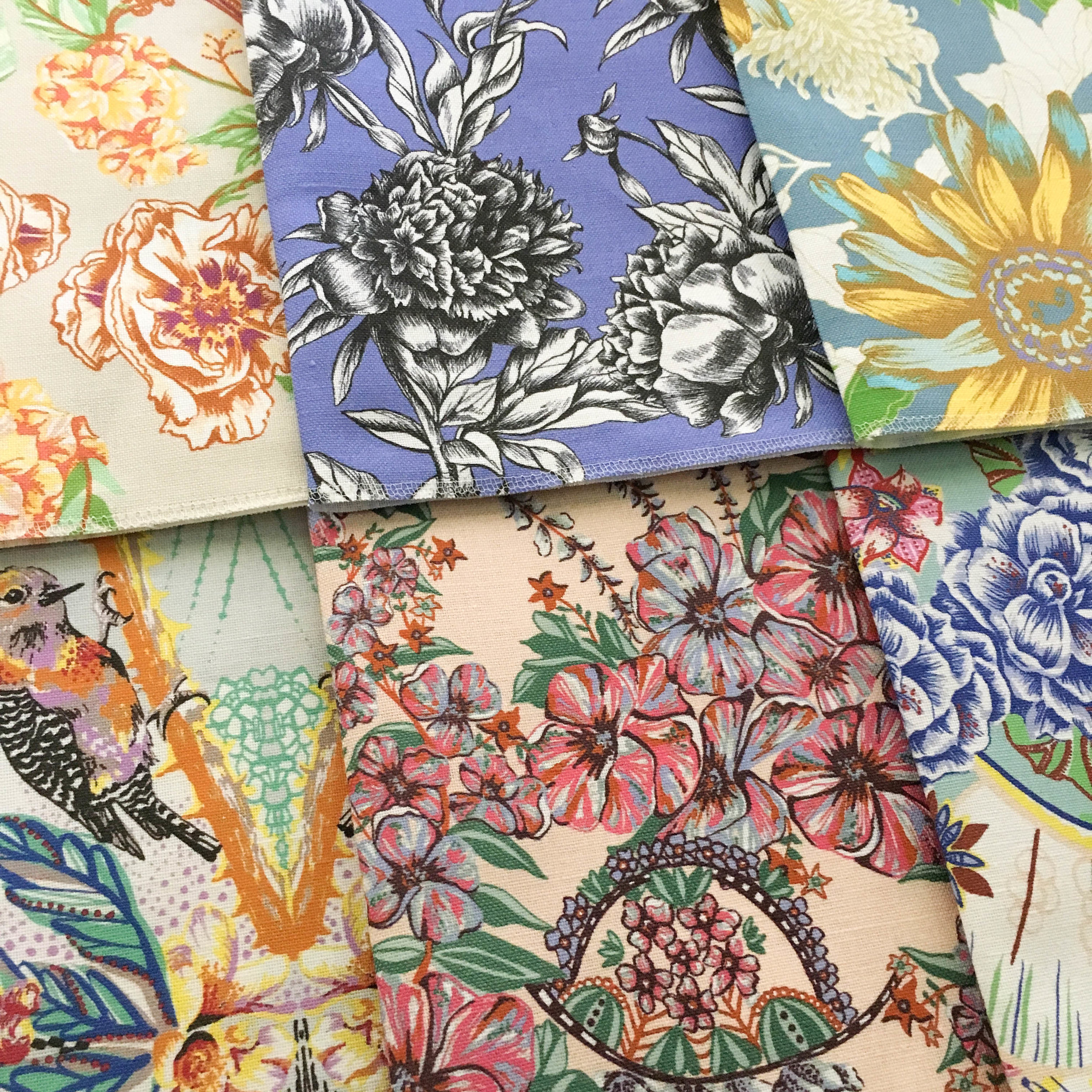 Fabric by the yard in bright, colorful floral patterns
