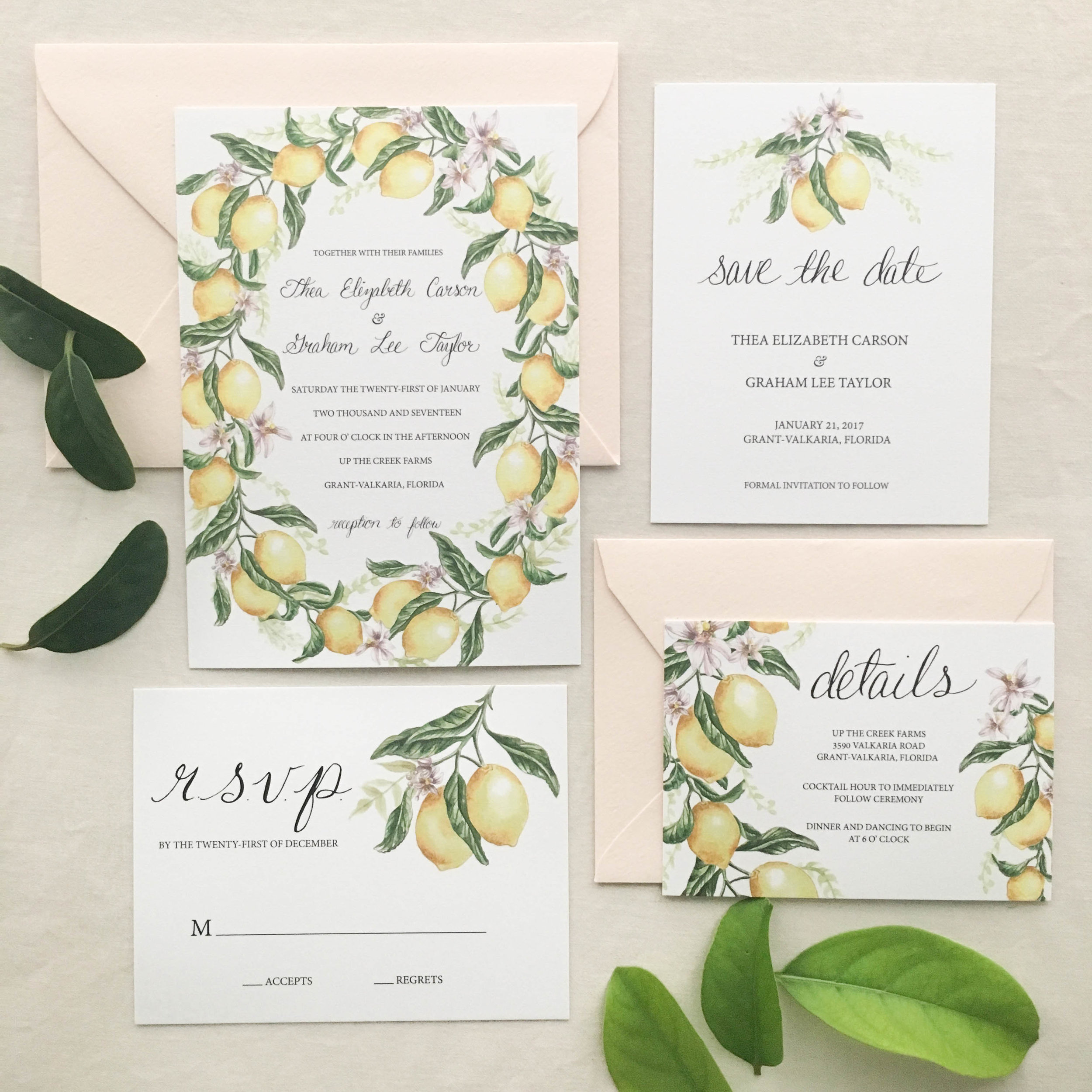 Janice Nelson Made in USA lemon wreath wedding stationery with bright yellow citrus and green wreath semi-custom hand painted watercolor wedding invitation custom wedding invite