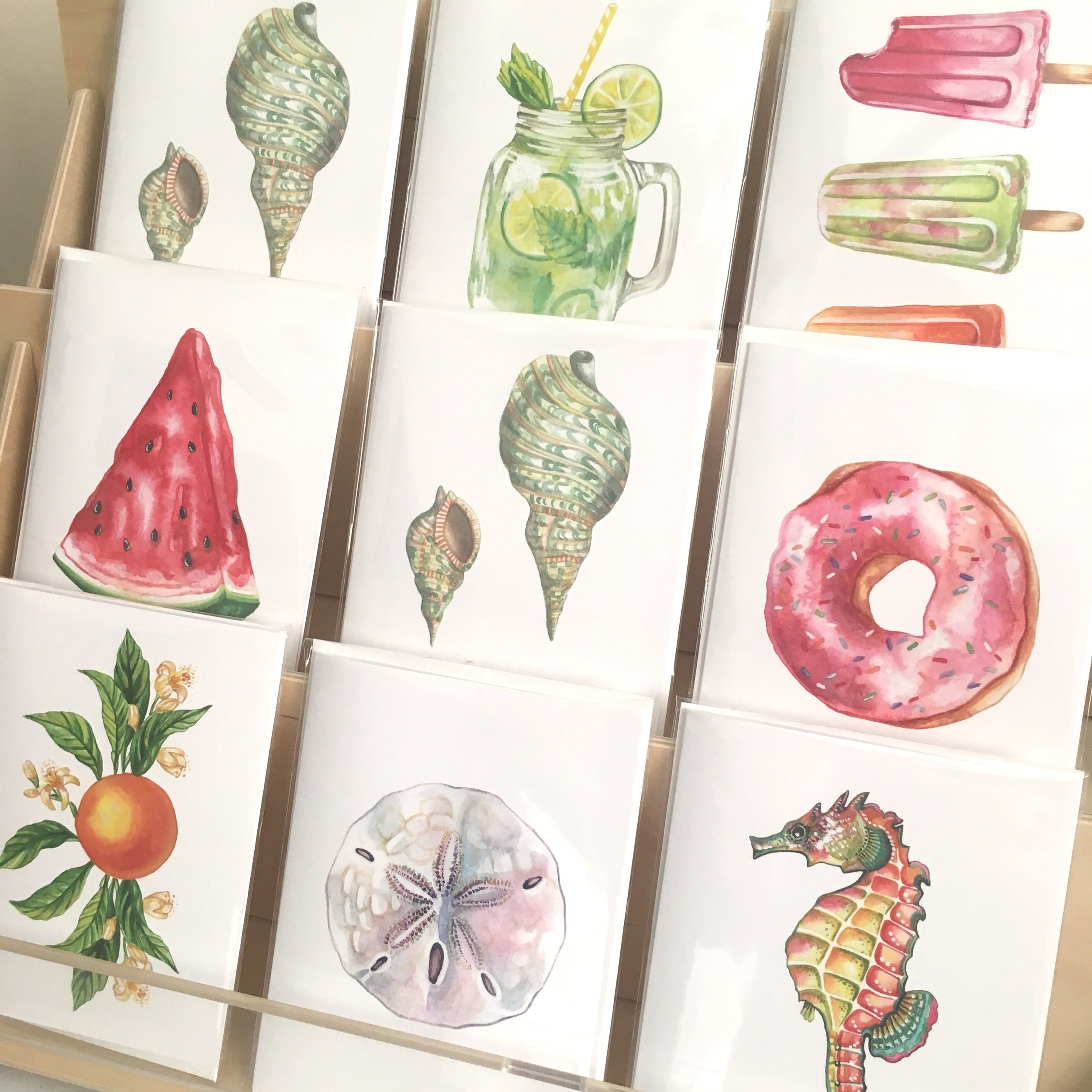 The new greeting card collection offers a variety of bright, colorful designs.